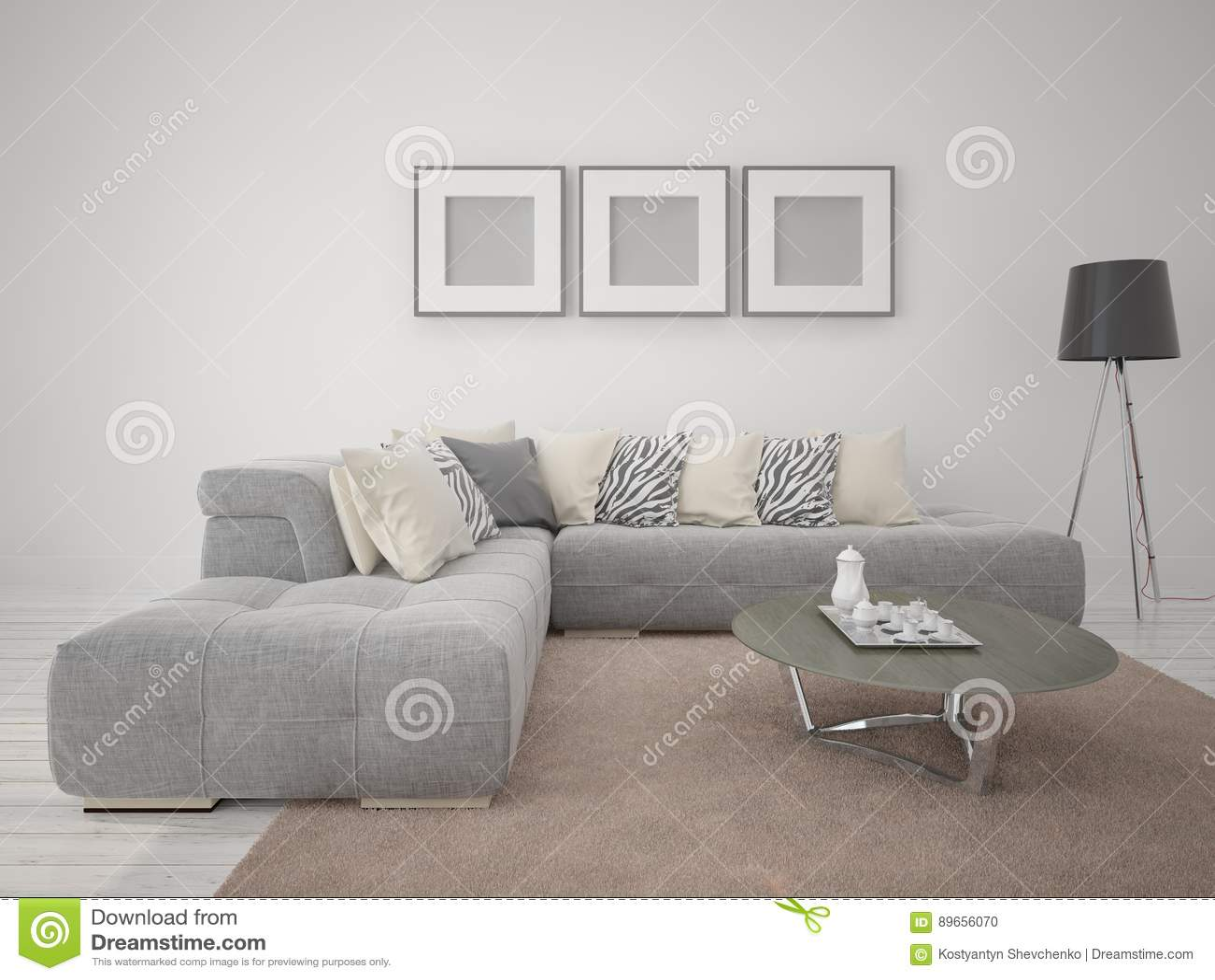 Verspotten Sie Herauf Modernes Wohnzimmer Mit Bequemem Ecksofa Stock ...