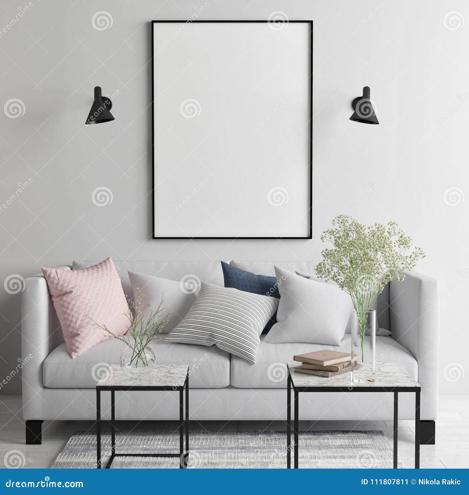 Verspotten Sie herauf Plakat im skandinavischen Wohnzimmer, Ihr Kunstwerk hier,