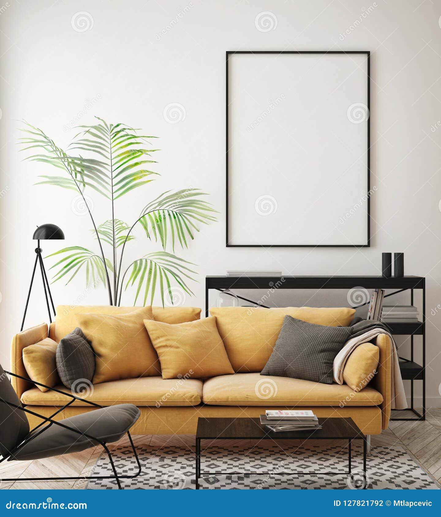 Verspotten Sie herauf Plakatrahmen im Hippie-Innenhintergrund, Wohnzimmer, skandinavische Art, 3D übertragen, Illustration 3D