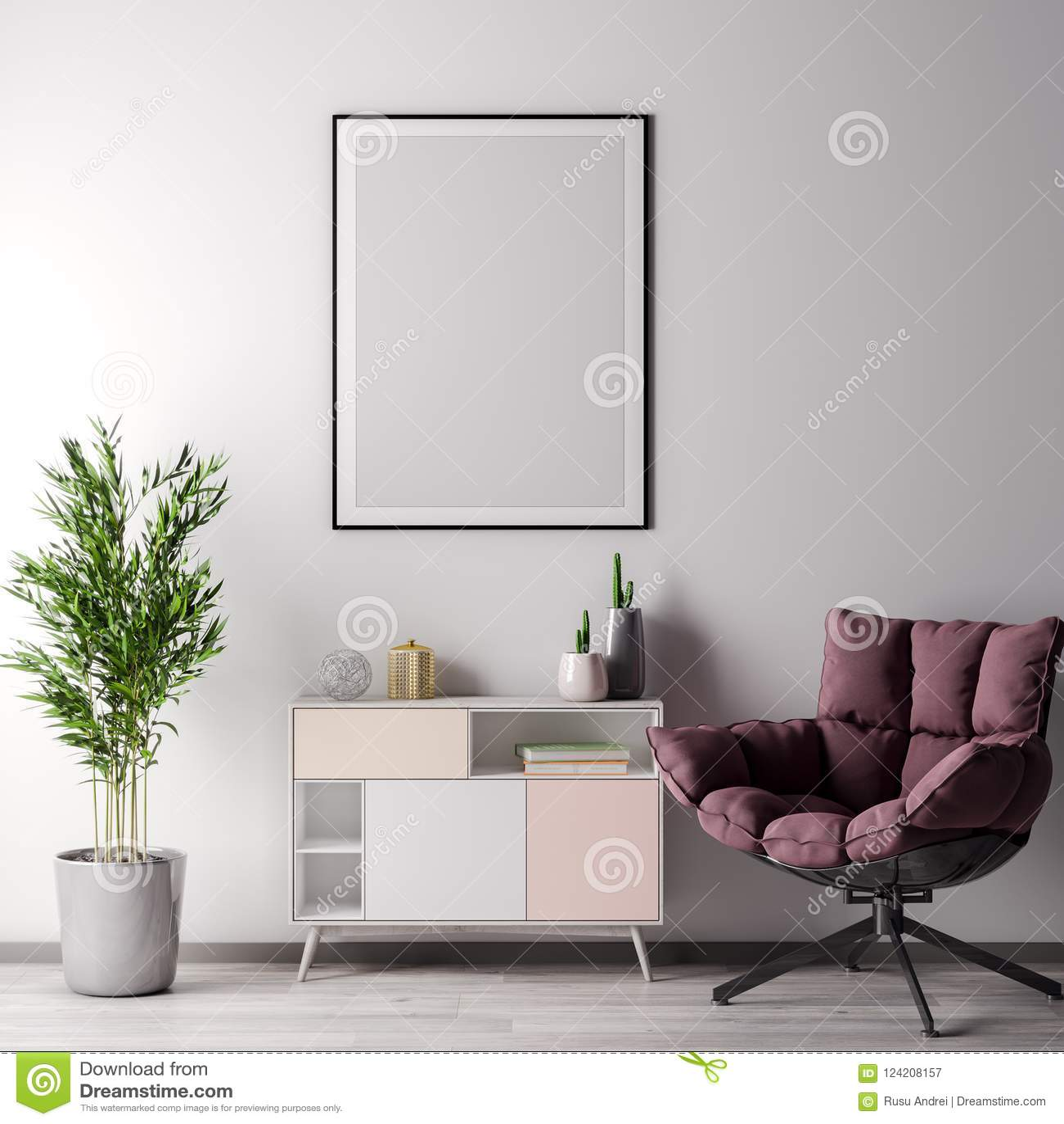 Verspotten Sie herauf Plakatrahmen im Innenraum mit weißer wal, moderner Art, Illustration 3D