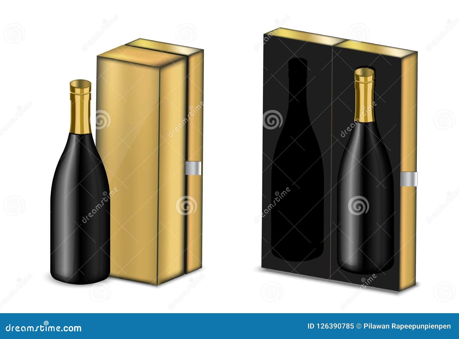Verspotten Sie herauf realistischen erstklassigen Wein oder Champagne Alcohol Black Bottle für Weihnachtsfest mit Luxusgoldkasten