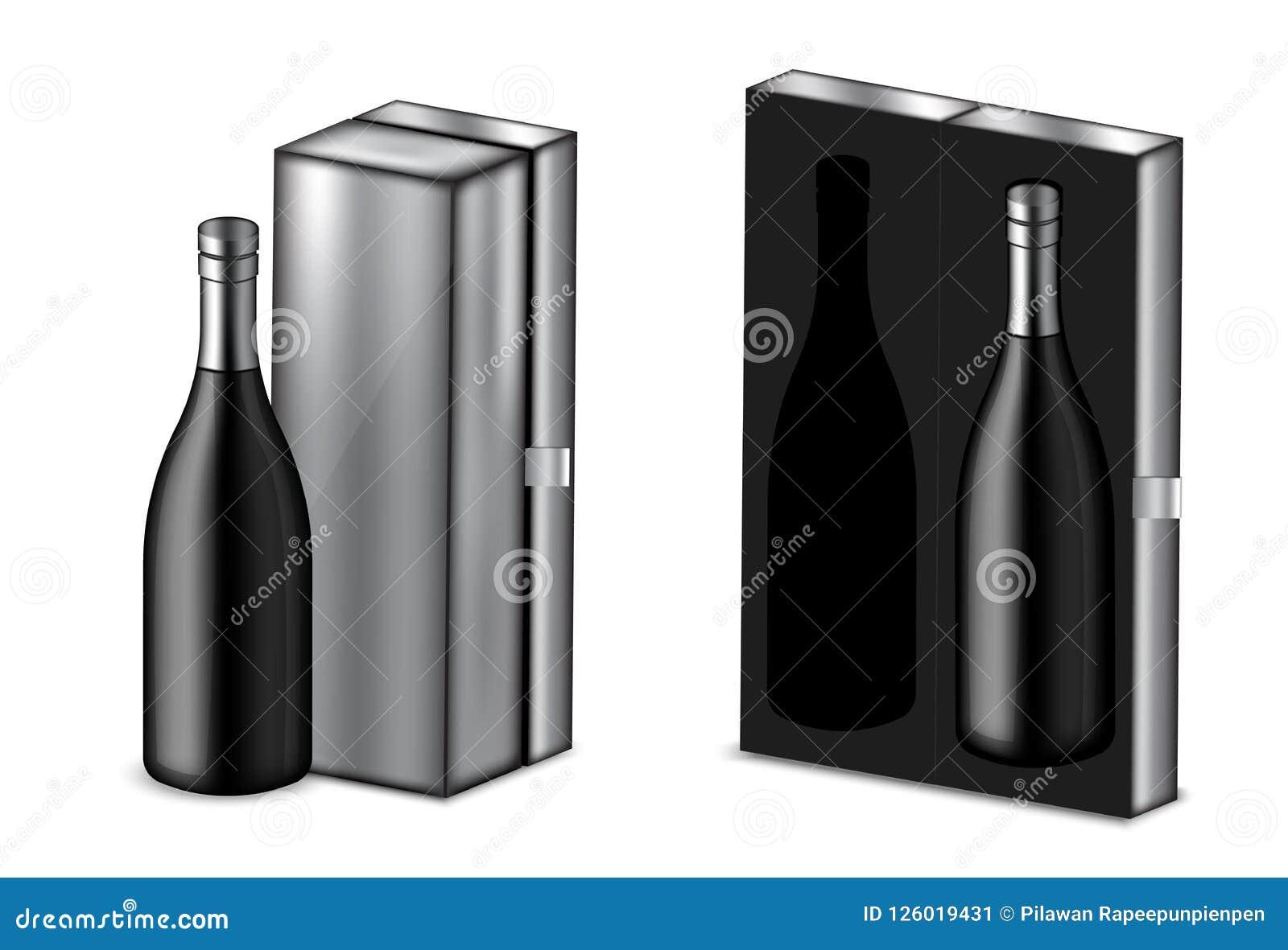 Verspotten Sie herauf realistischen erstklassigen Wein oder Champagne Alcohol Black Bottle für Weihnachtsfest mit metallischer Ka