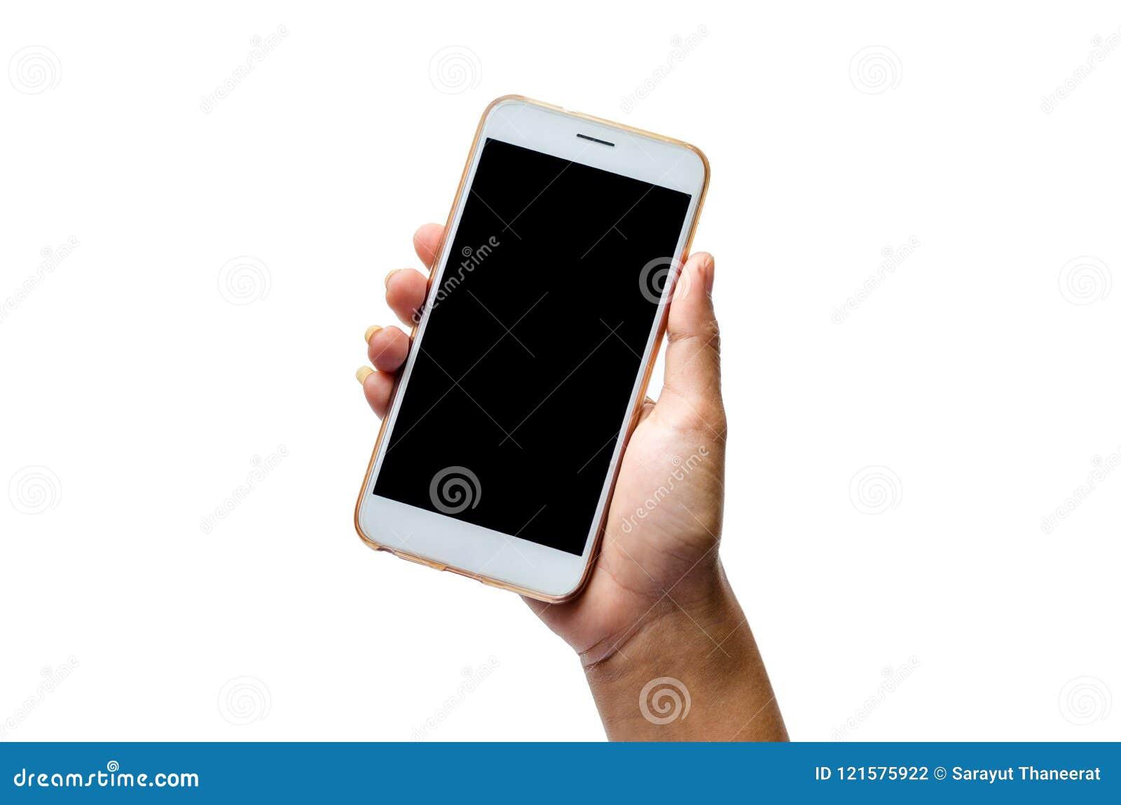 Verspotten Sie oben von einem Mannholdinggerät und von einem Touch Screen Weißer Handy Touch Screen Hintergrund des Beschneidungs