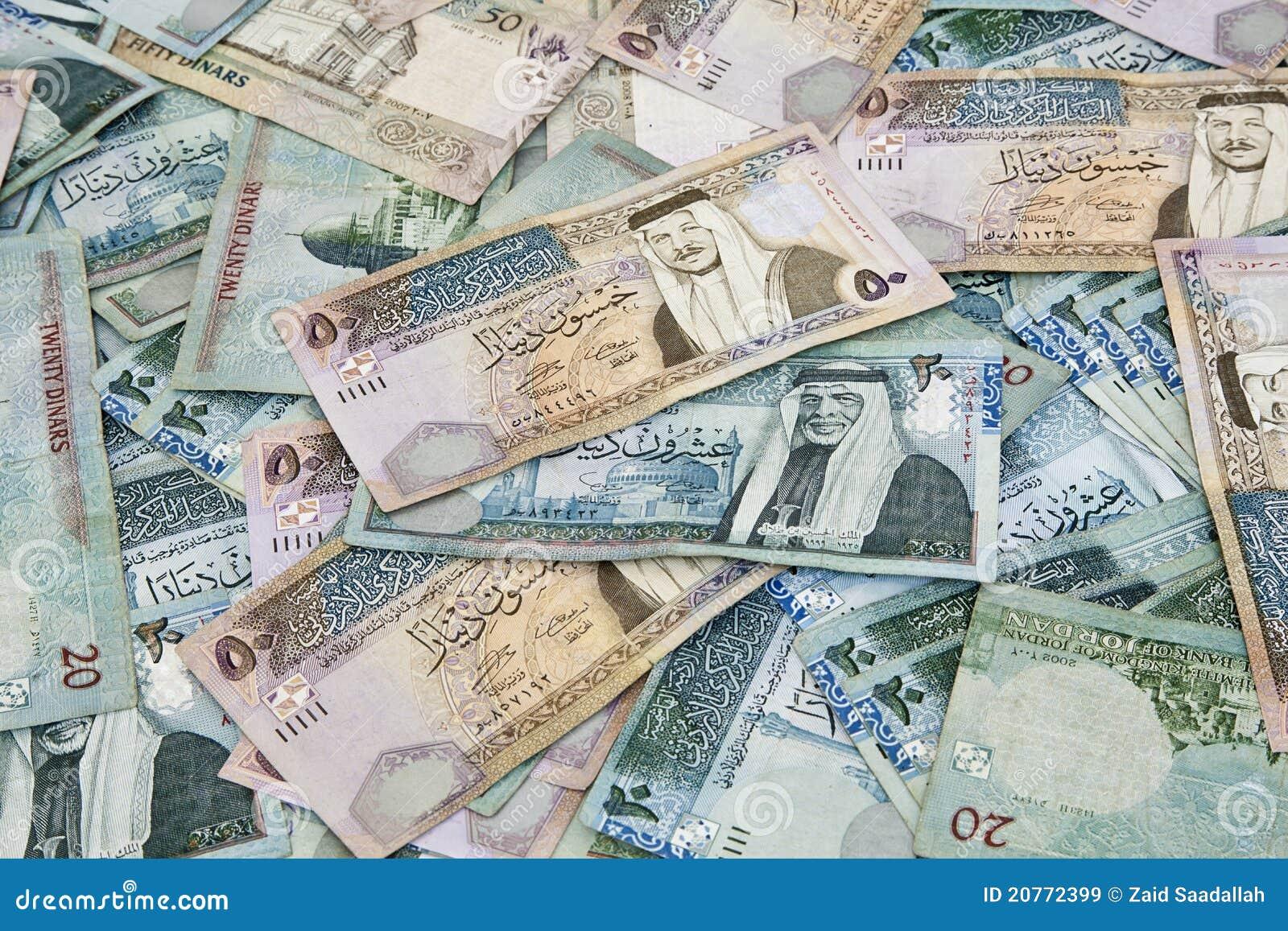 Verspreide Jordanian bankbiljetten