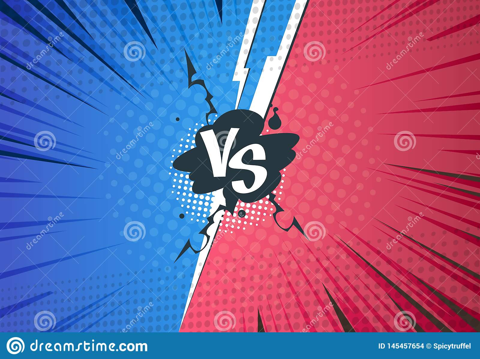 Versus comics background. Superhero pop art battle, cartoon halftone style, retro VS challenge template. Vector versus