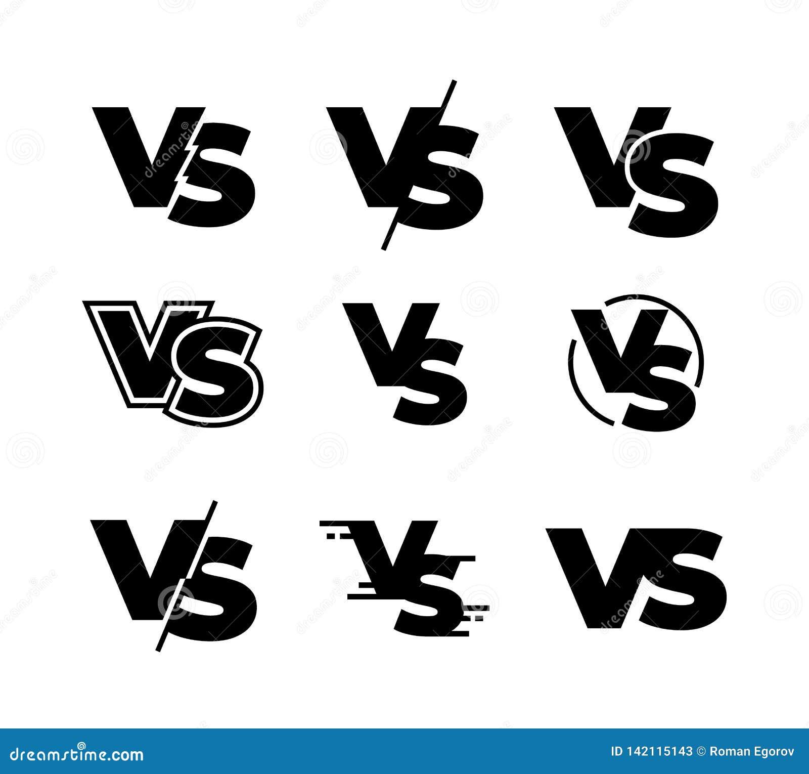 Versus czarni logo Wyzwanie VS znak, sporta dopasowania turniejowe czarne odosobnione ikony, walki gra podpisuje Wektor versus