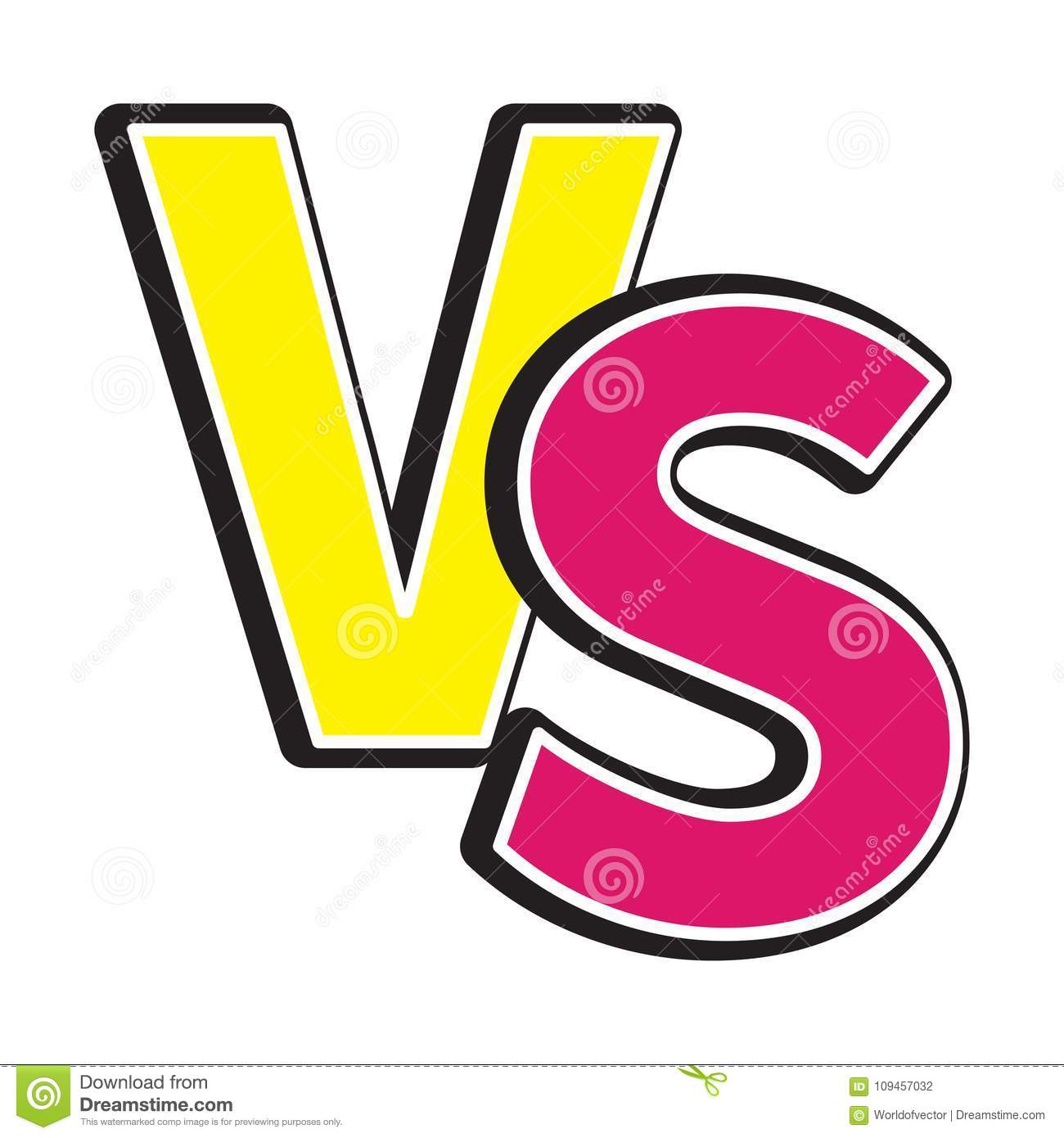 Versus Letters Icon Or VS Battle Fight Competition Sign Symbol. Cute ...
