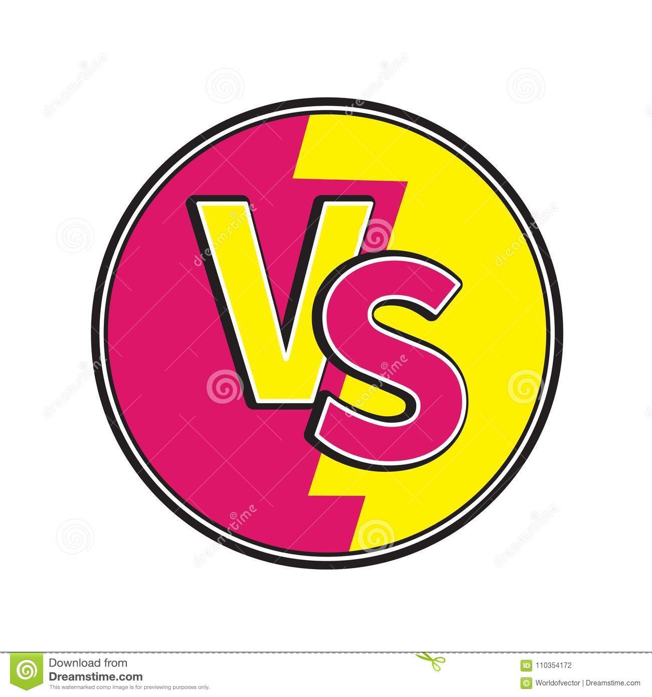 Versus Letters Round Circle Icon Or VS Battle Fight Competition Sign ...