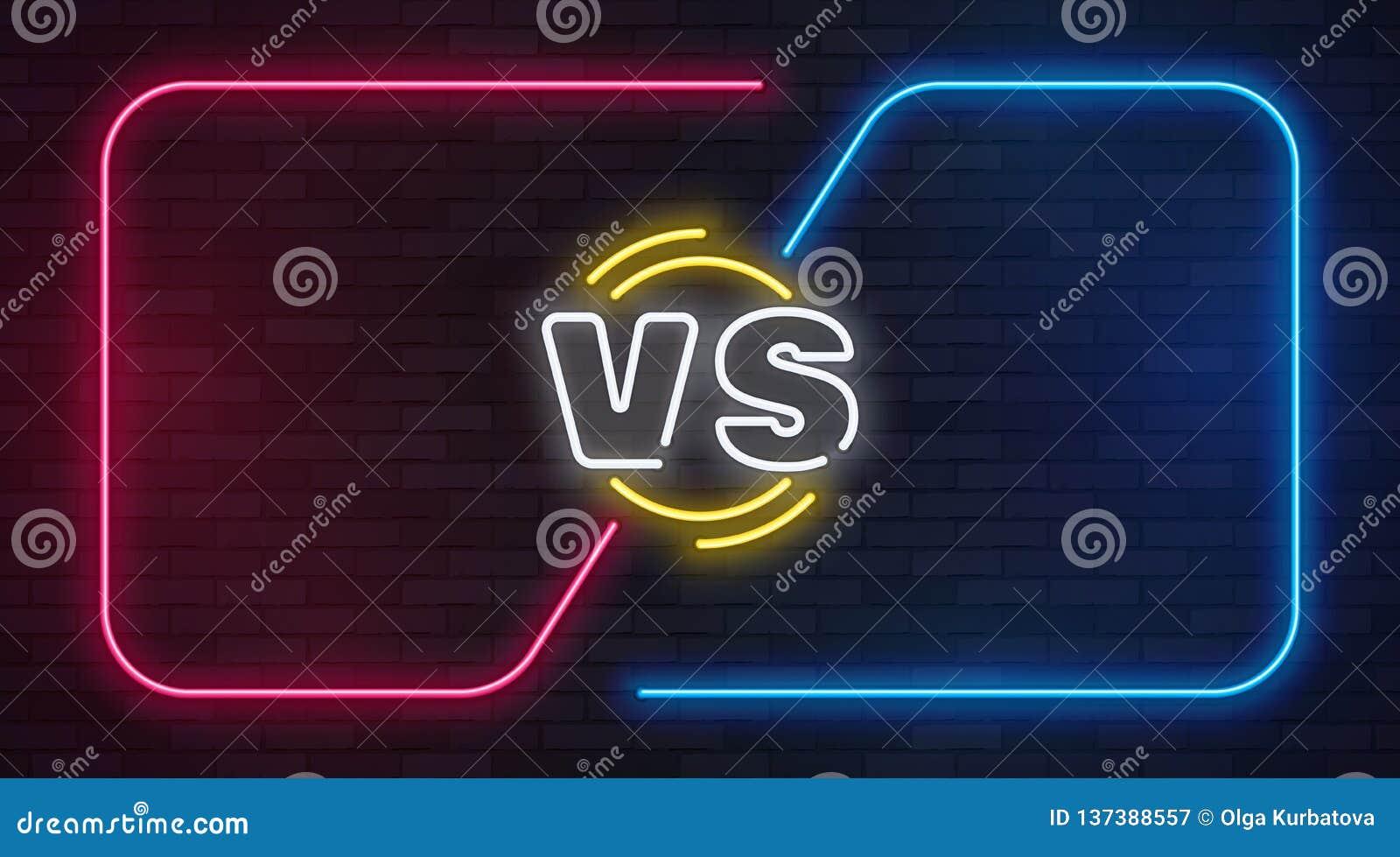 Versus neon Tegenover de banner van het slagspel met neon lege kaders Bokswedstrijdduel, van de bedrijfs slakkenconcurrentie conf