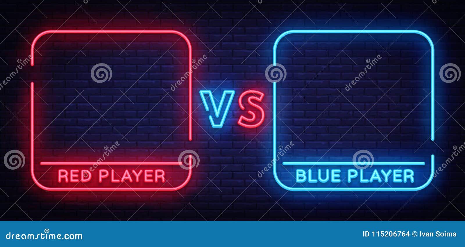 Versus neonowy znak Neonowy symbol, ikona, loga projekta szablonu konfrontacja Lekki sztandar, jaskrawa nocy reklama wektor
