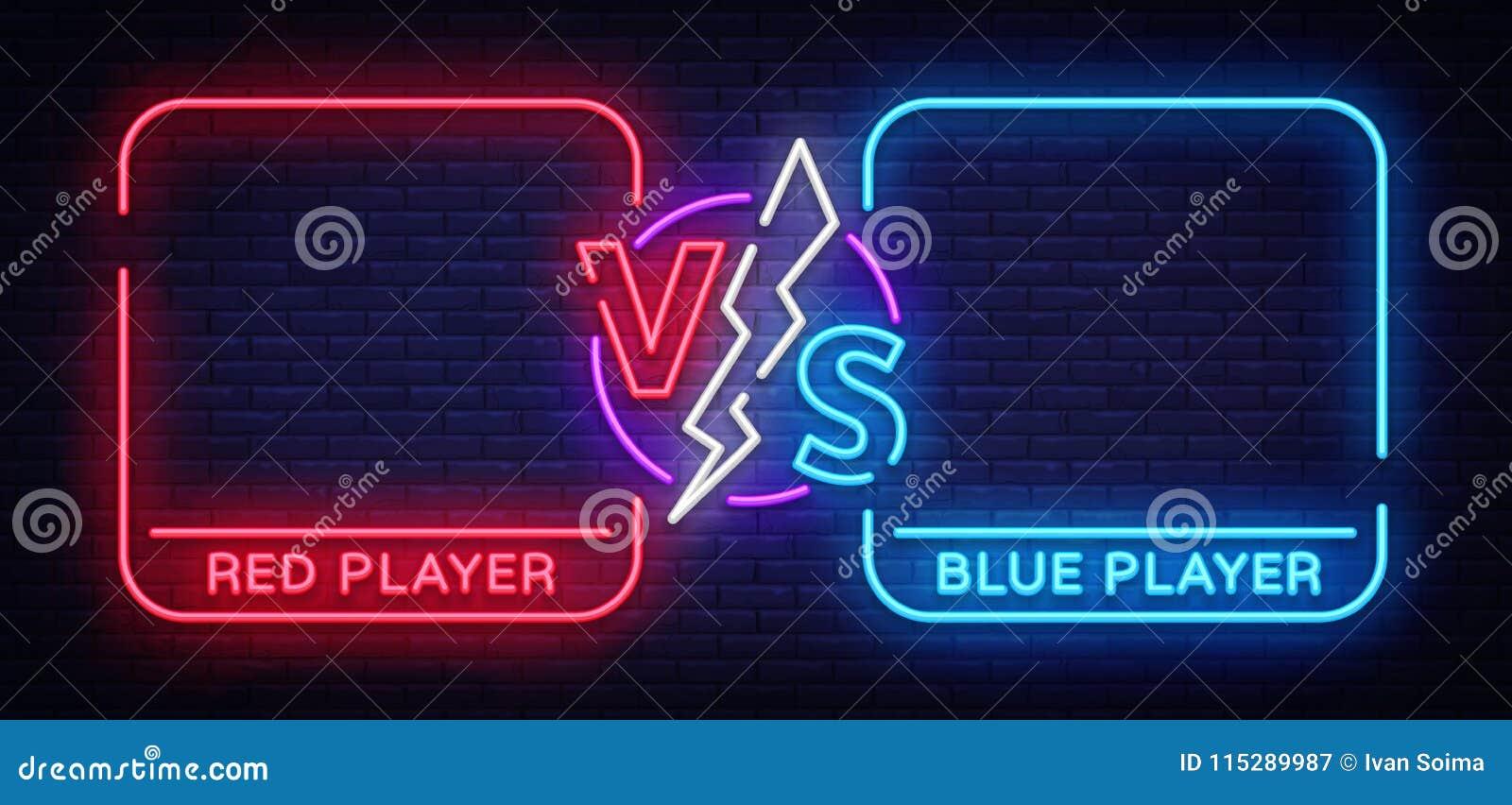 Versus parawanowy projekt w neonowym stylu Neonowy sztandaru zawiadomienie dwa wojownika Błękitny futurystyczny neonowy VS liście