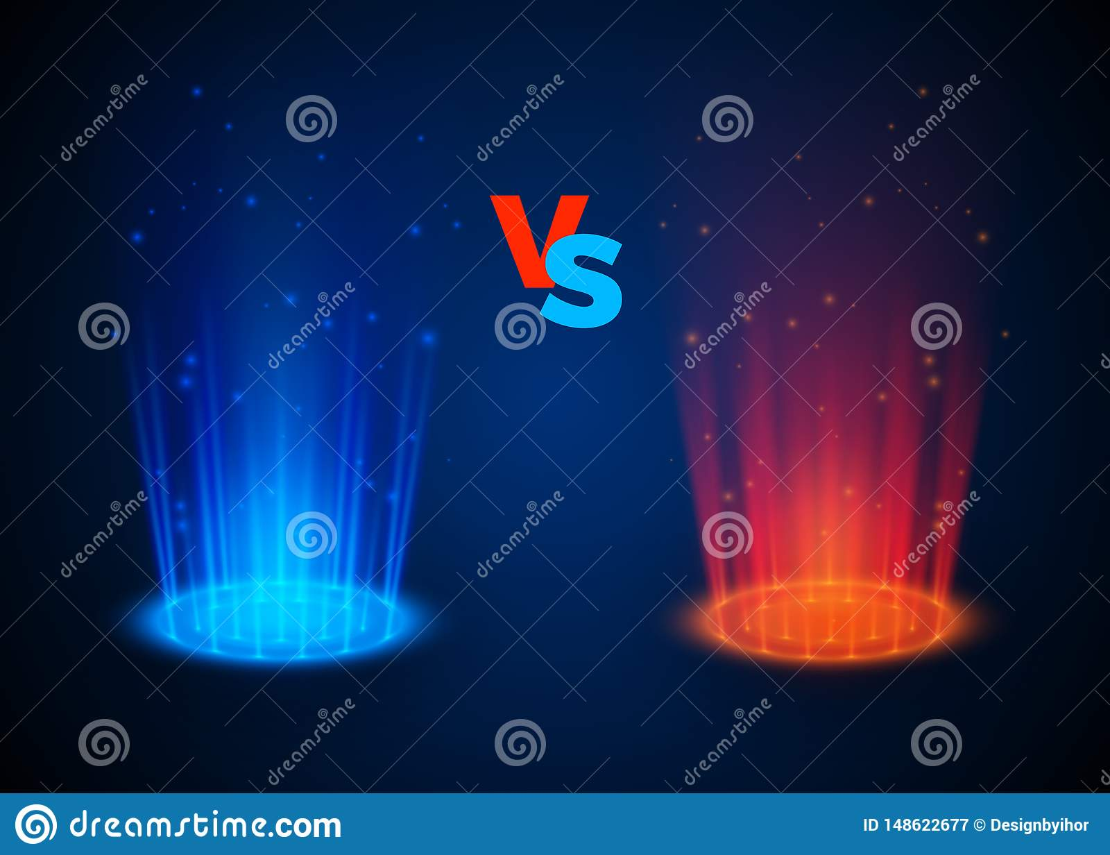 Versus rozjarzeni ?wiat?o reflektor?w b??kita i czerwieni kolory Abstrakcjonistyczny hologram Vs batalistyczna scena z promieniam