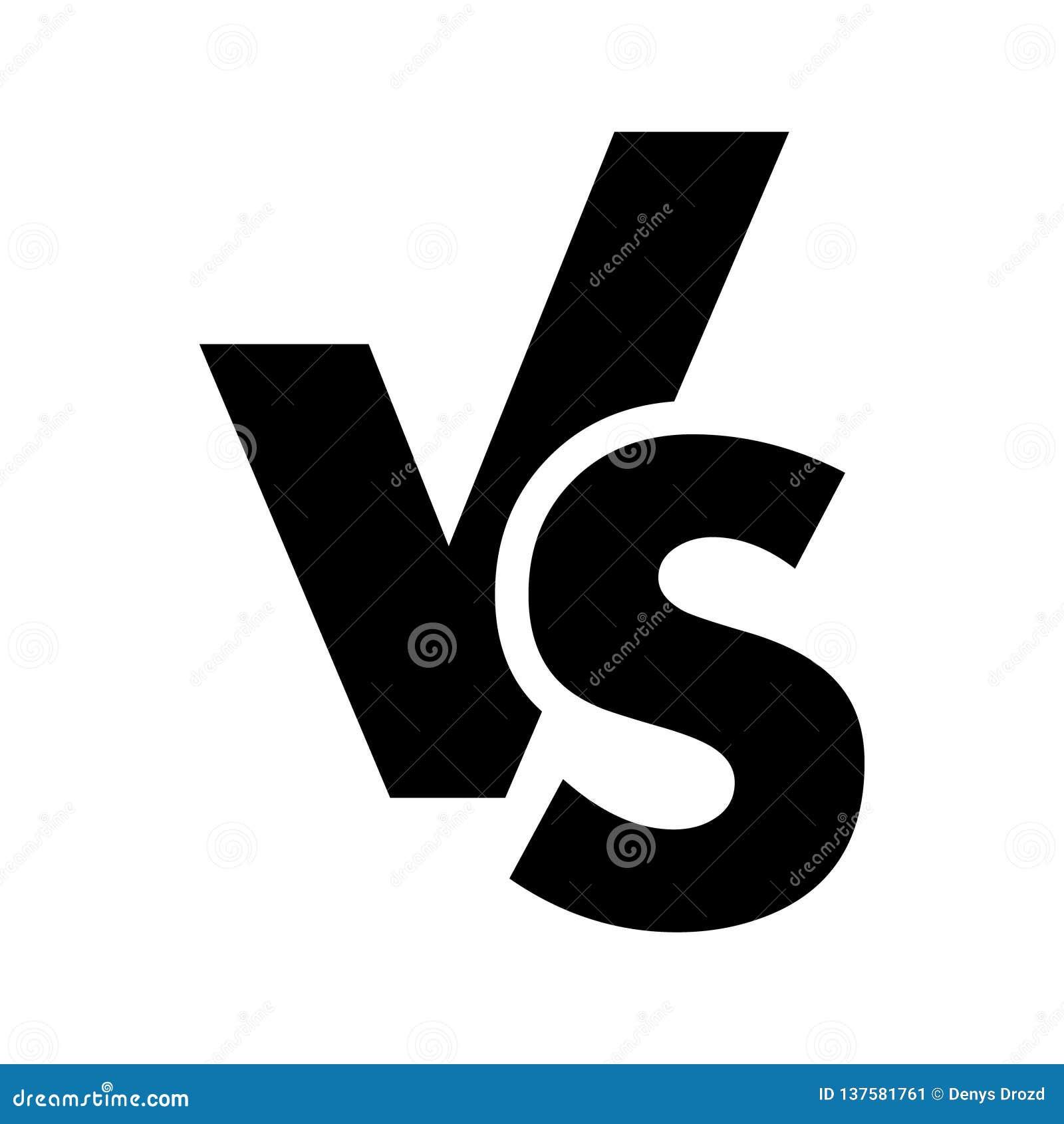 VERSUS tegenover het pictogram van het brievenembleem op witte achtergrond wordt geïsoleerd die VERSUS tegenover symbool voor con