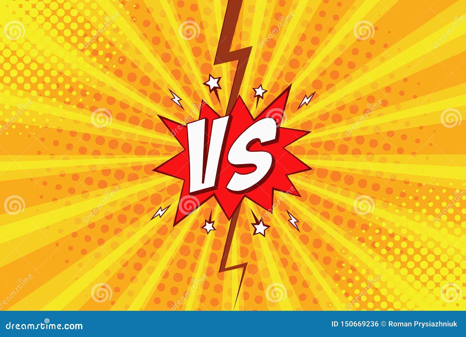 Versus wystrzał sztuki komiczny tło z halftone i błyskawica dla wstępu bohater walka VS wektor