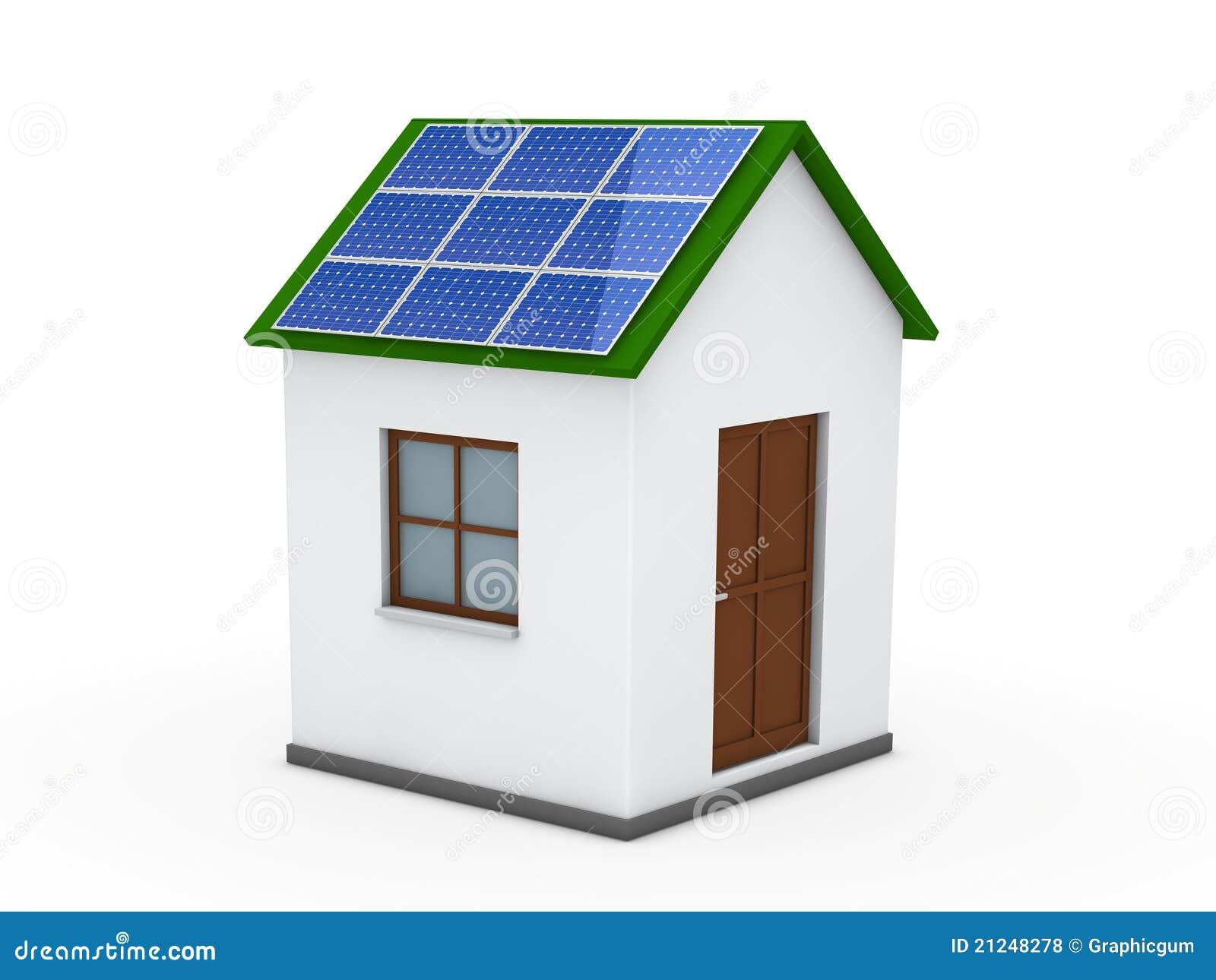 Vert d 39 nergie solaire de la maison 3d photos libres de - Maison productrice d energie ...