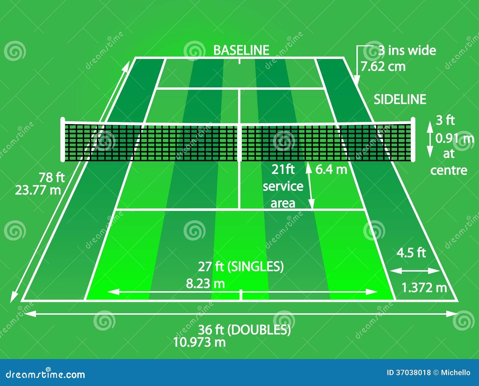 Vert de court de tennis photos libres de droits image for Terrain de tennis dimensions
