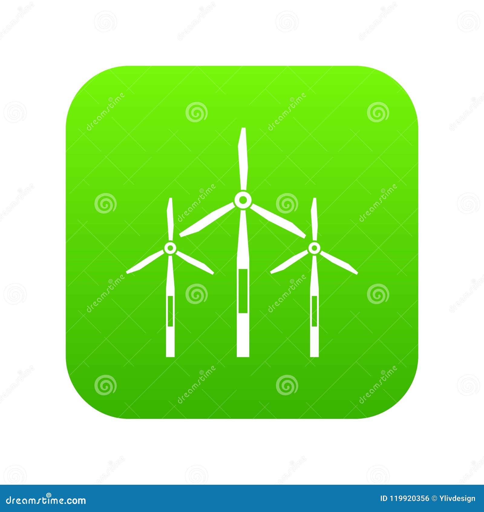Vert numérique d icône de turbines de générateur de vent