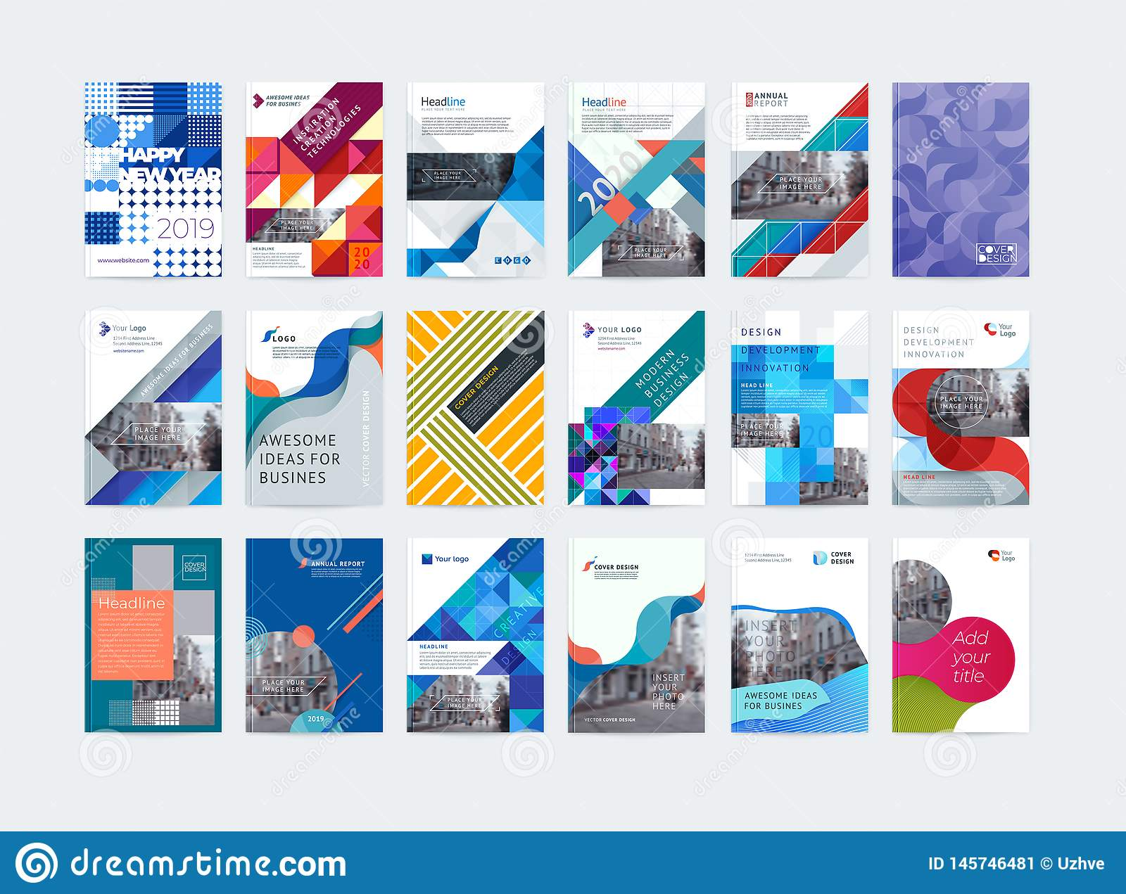 Business vector set. Brochure template layout, cover design annual report, magazine, flyer in A4. Abstract - Vector