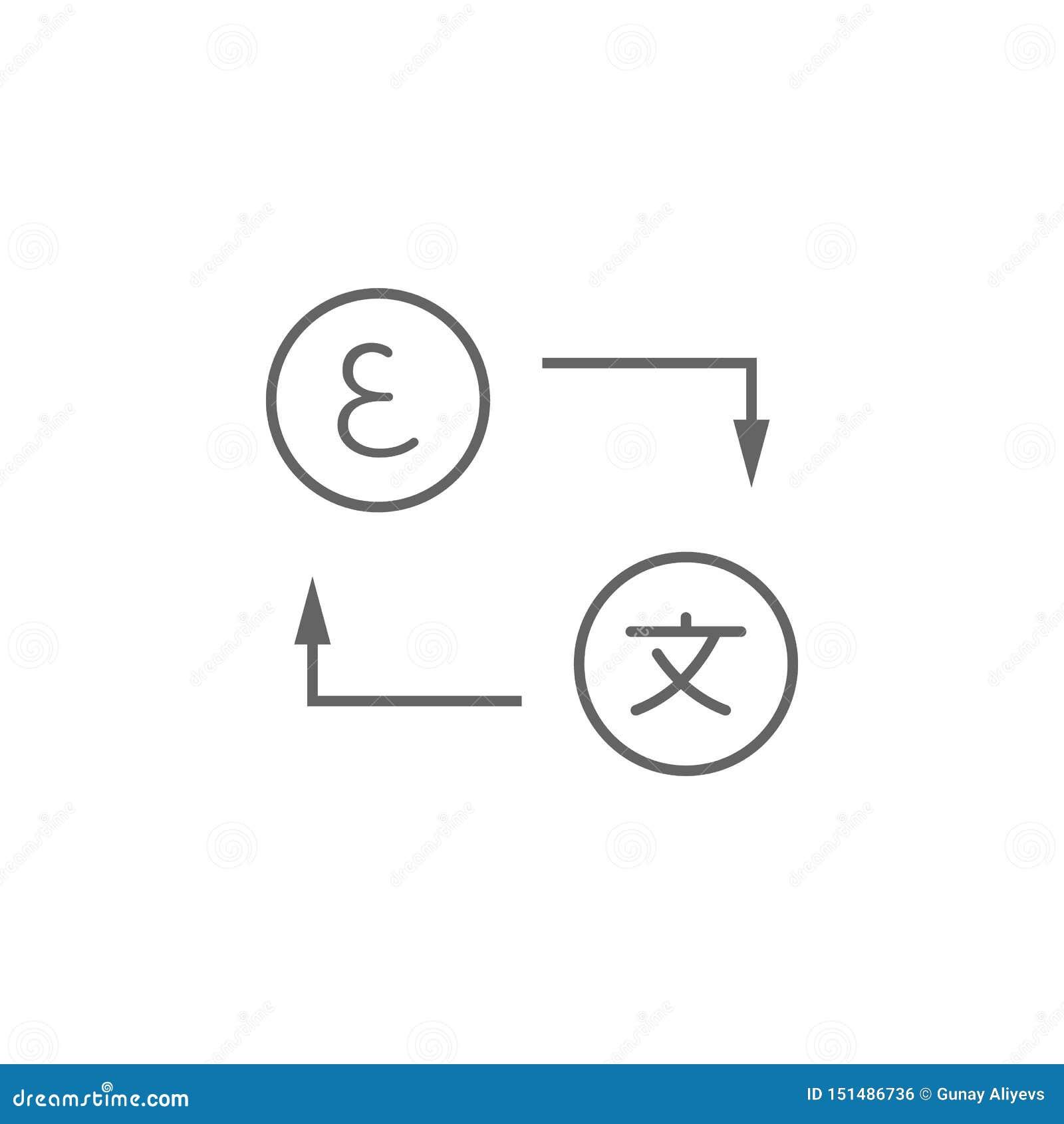 Vertaling, woordenpictogram Element van vertalerspictogram Dun lijnpictogram voor websiteontwerp en ontwikkeling, app ontwikkelin