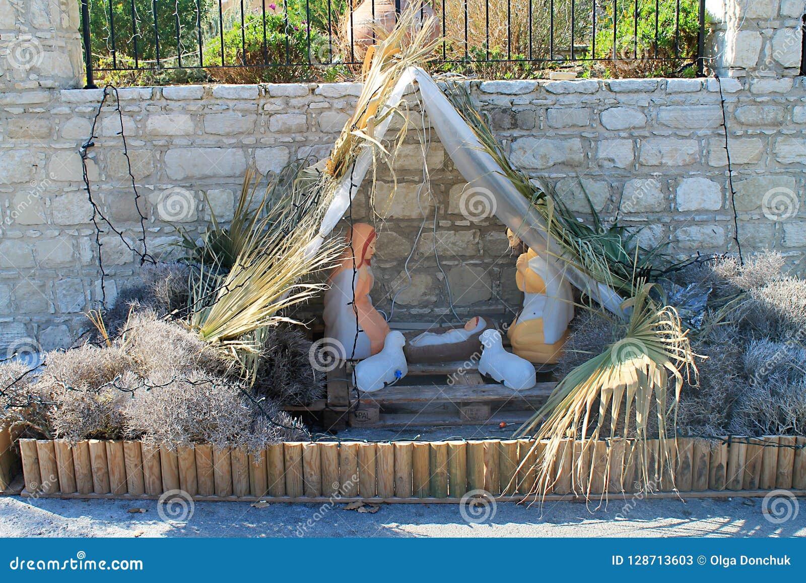 Vertegenwoordiging van de Geboorte van Christusscène op de stadsstraat