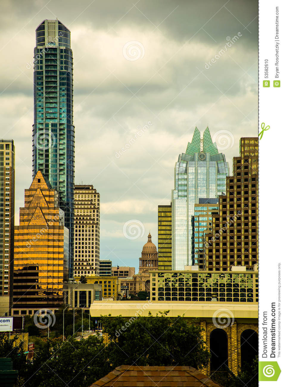 Vertical Austin Skyline Capitol Building Of Texas Stock
