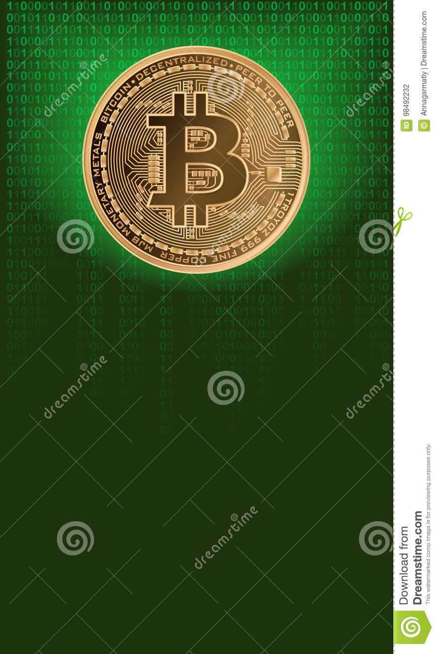 Vertical Background With Bitcoin Stock Vector - Illustration