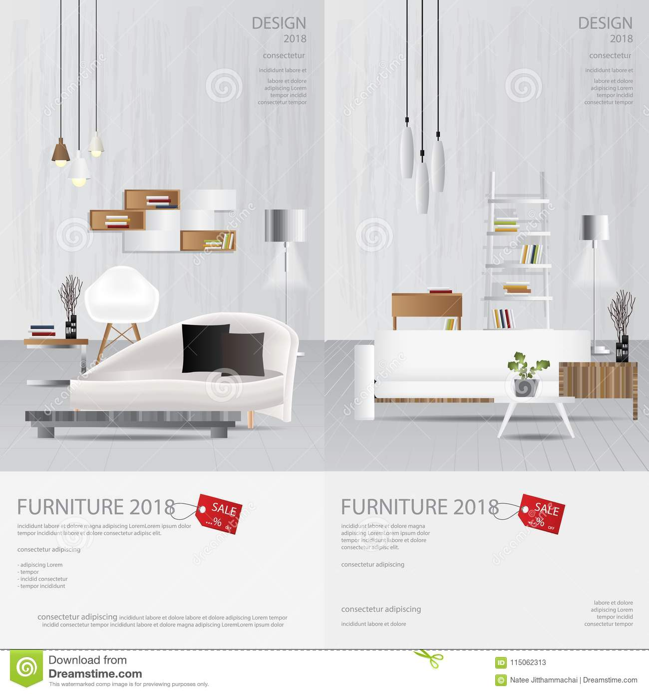 2 Vertical Banner Furniture Sale Design Template Stock Vector
