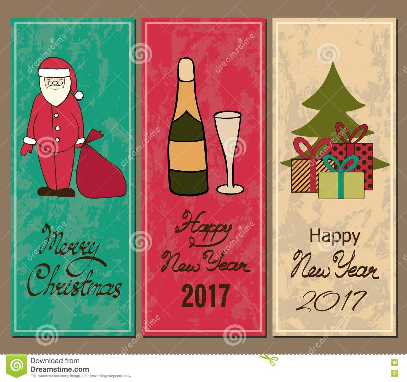 vertical banner merry christmas and a happy new year santa champagne christmas