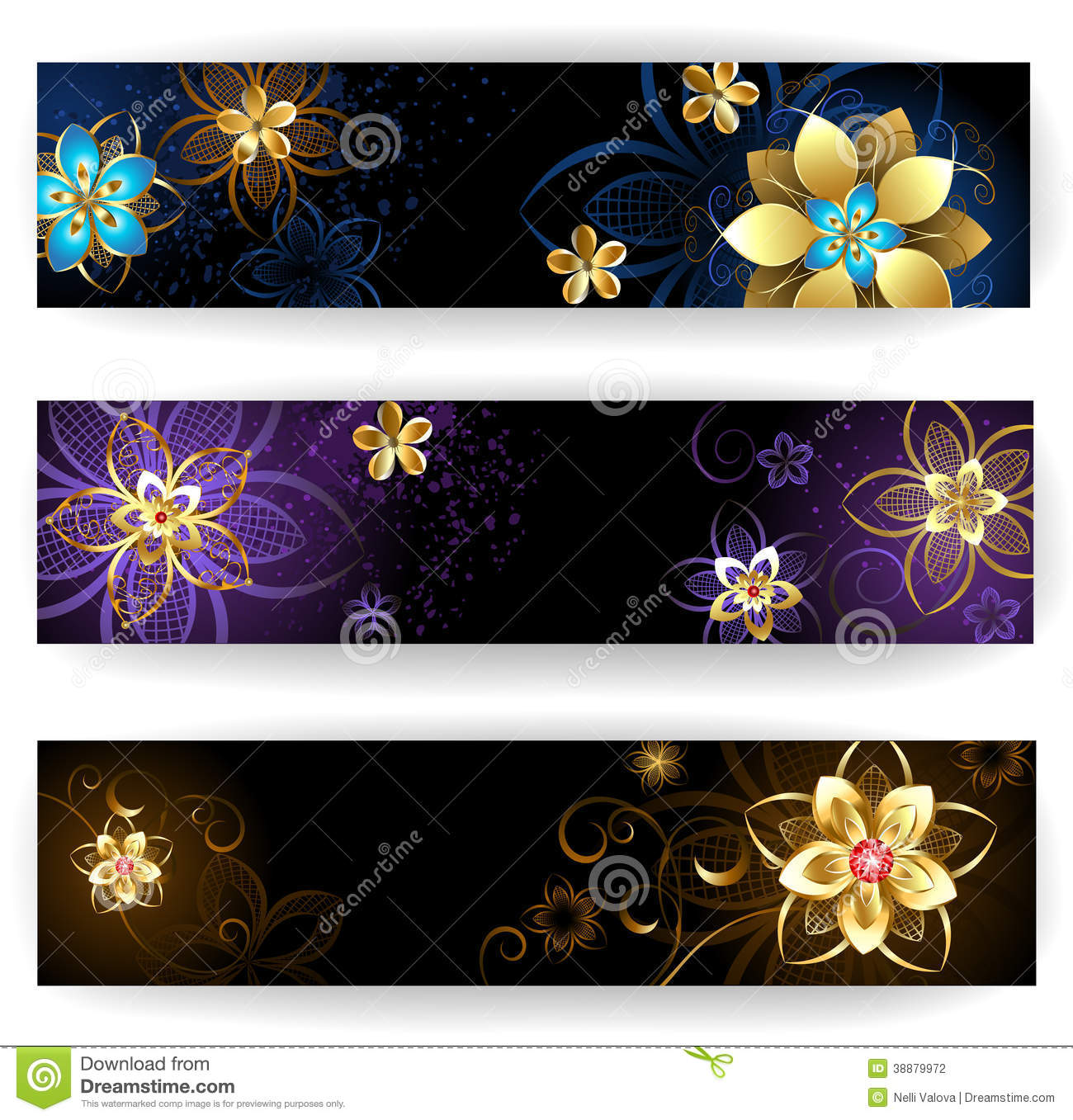 Vertical Banners With Abstract Flowers Stock Vector ...
