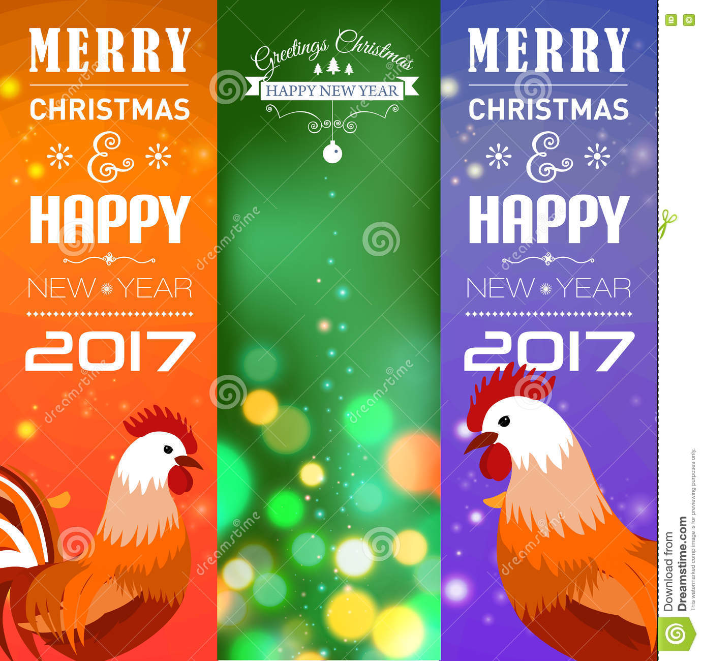 vector illustration of vertical banners set with 2017 chinese new year elements