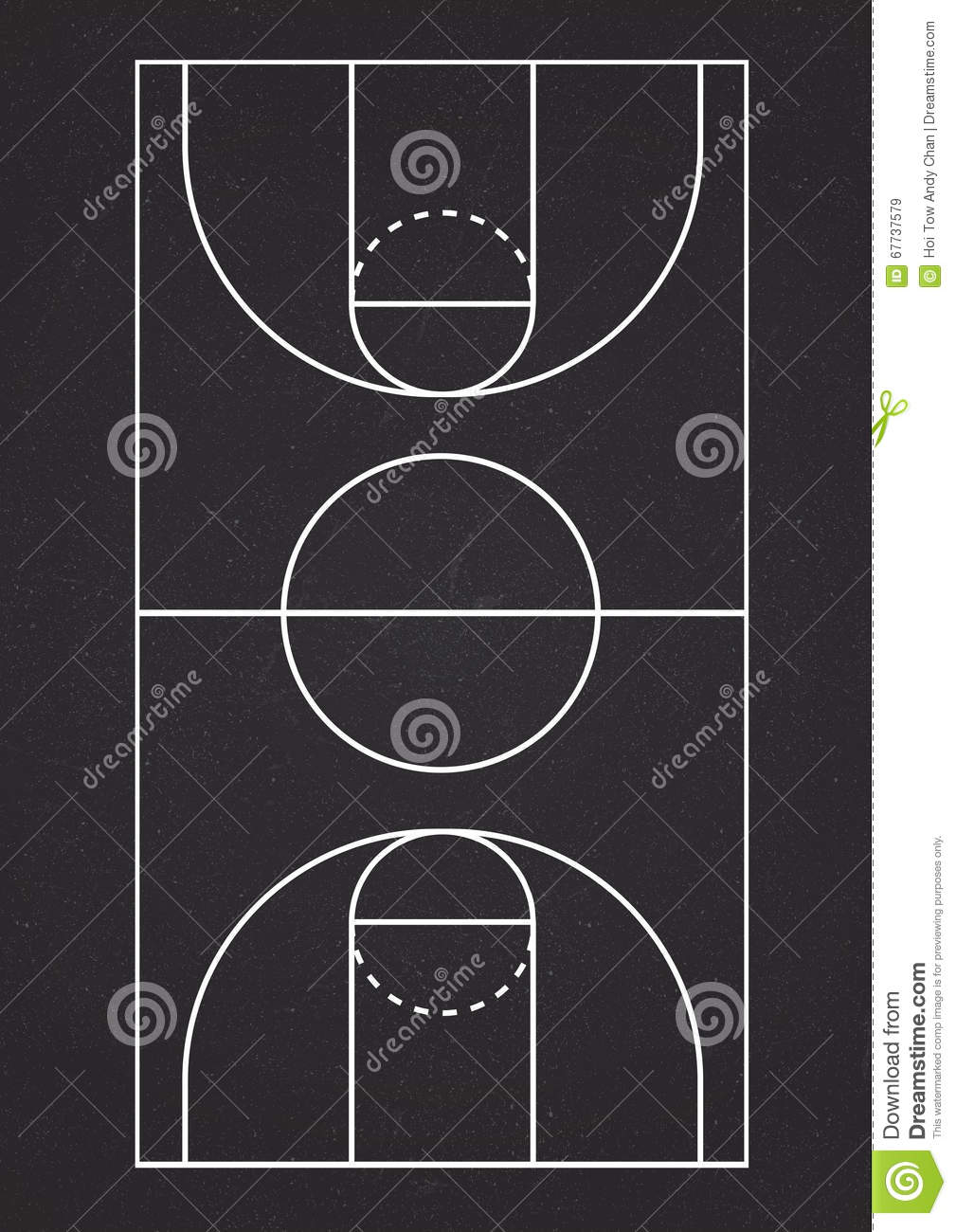 Vertical Basketball Court Line Vector Stock Image Image Of Empty Template 67737579