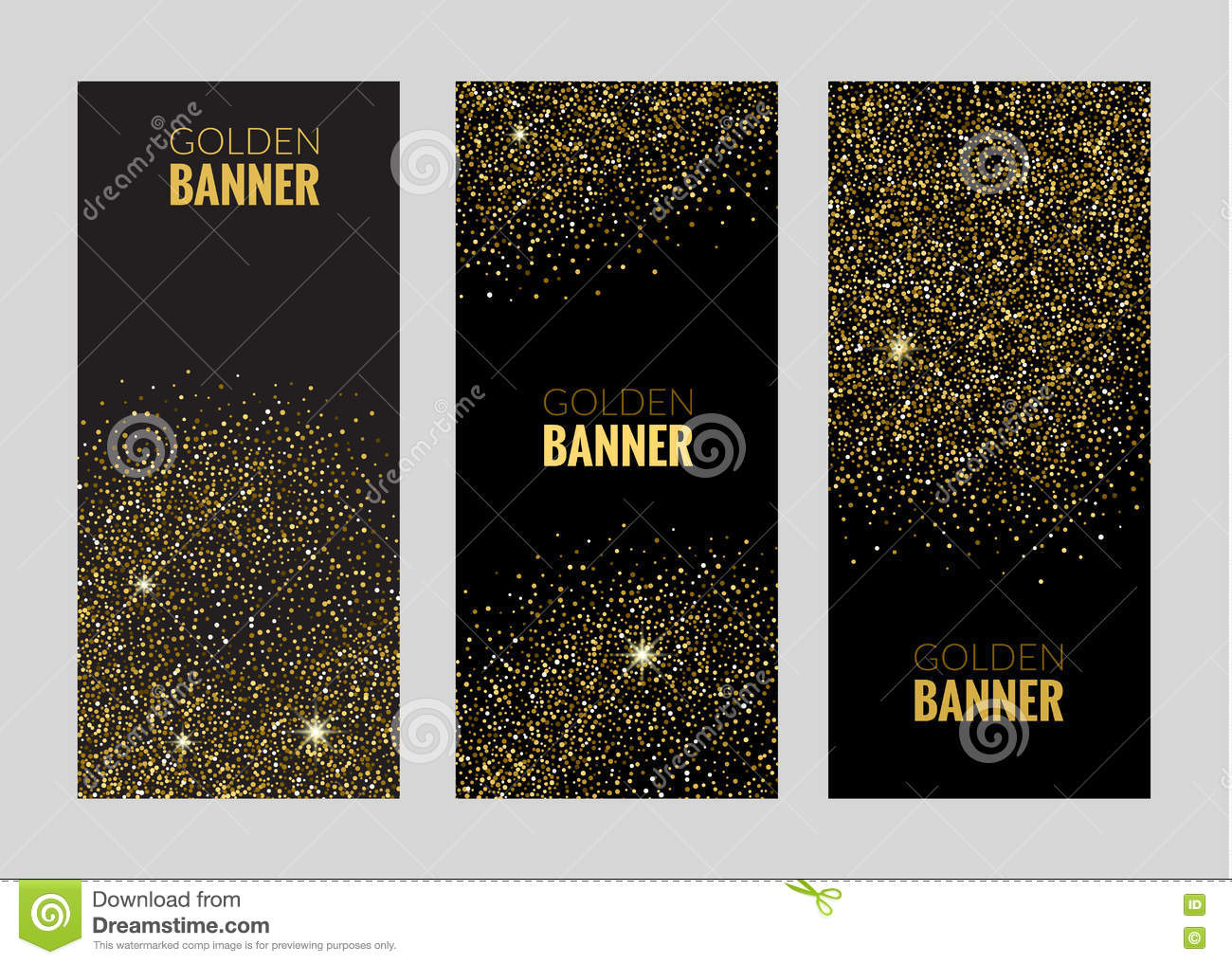 Vertical Black And Gold Banners Set Greeting Card Design Golden