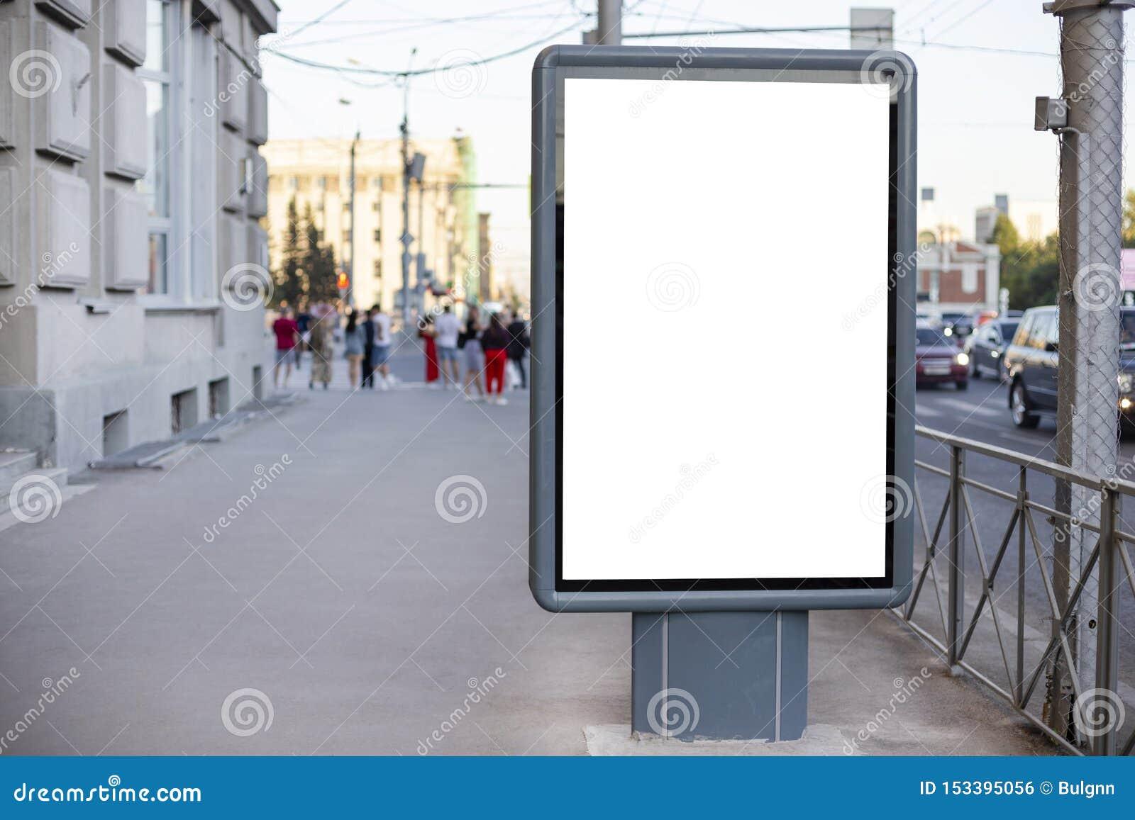 Vertical Blank Billboard  Mockup Of Outdoor Advertising With