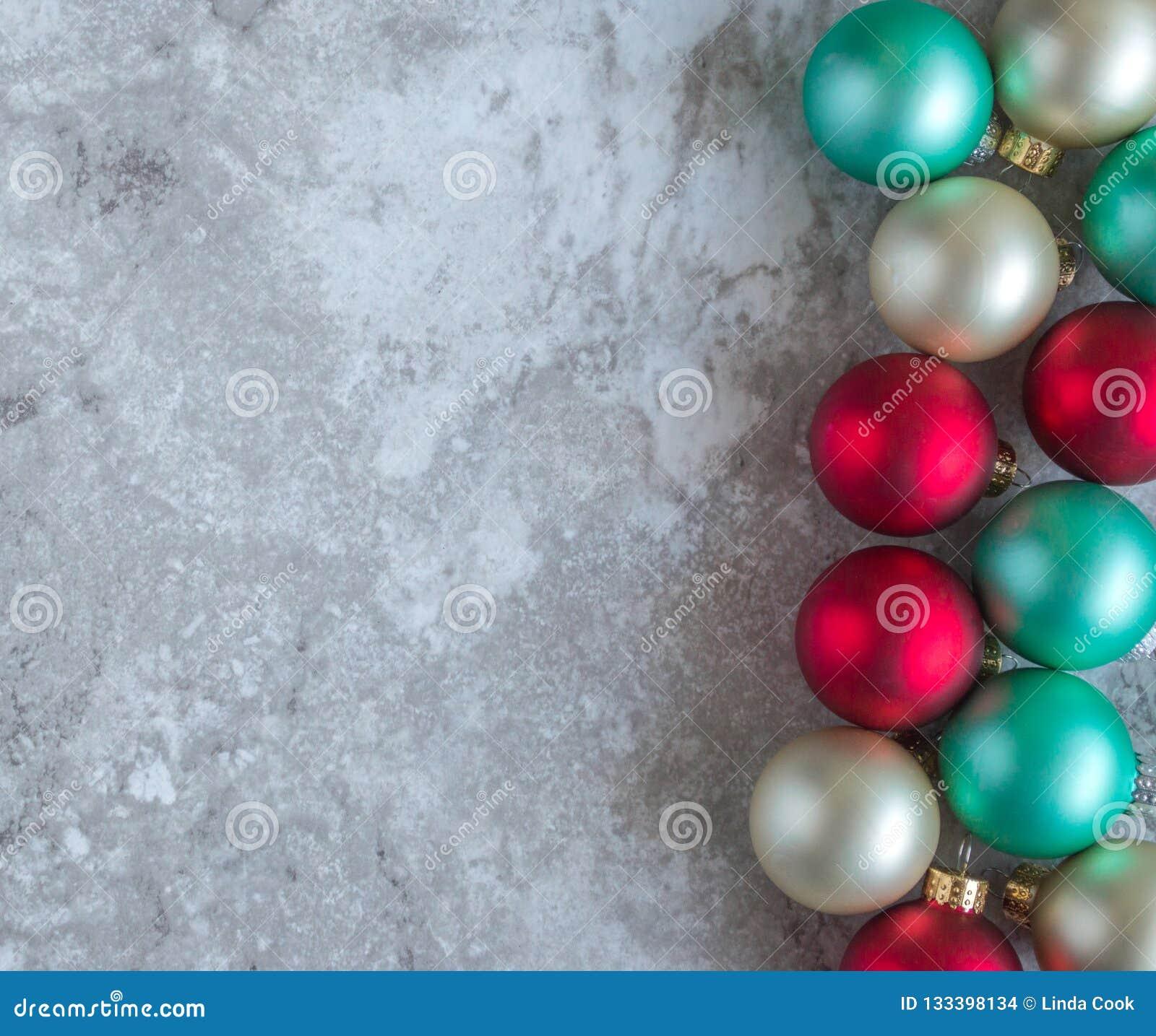 Vertical border of Christmas ornaments