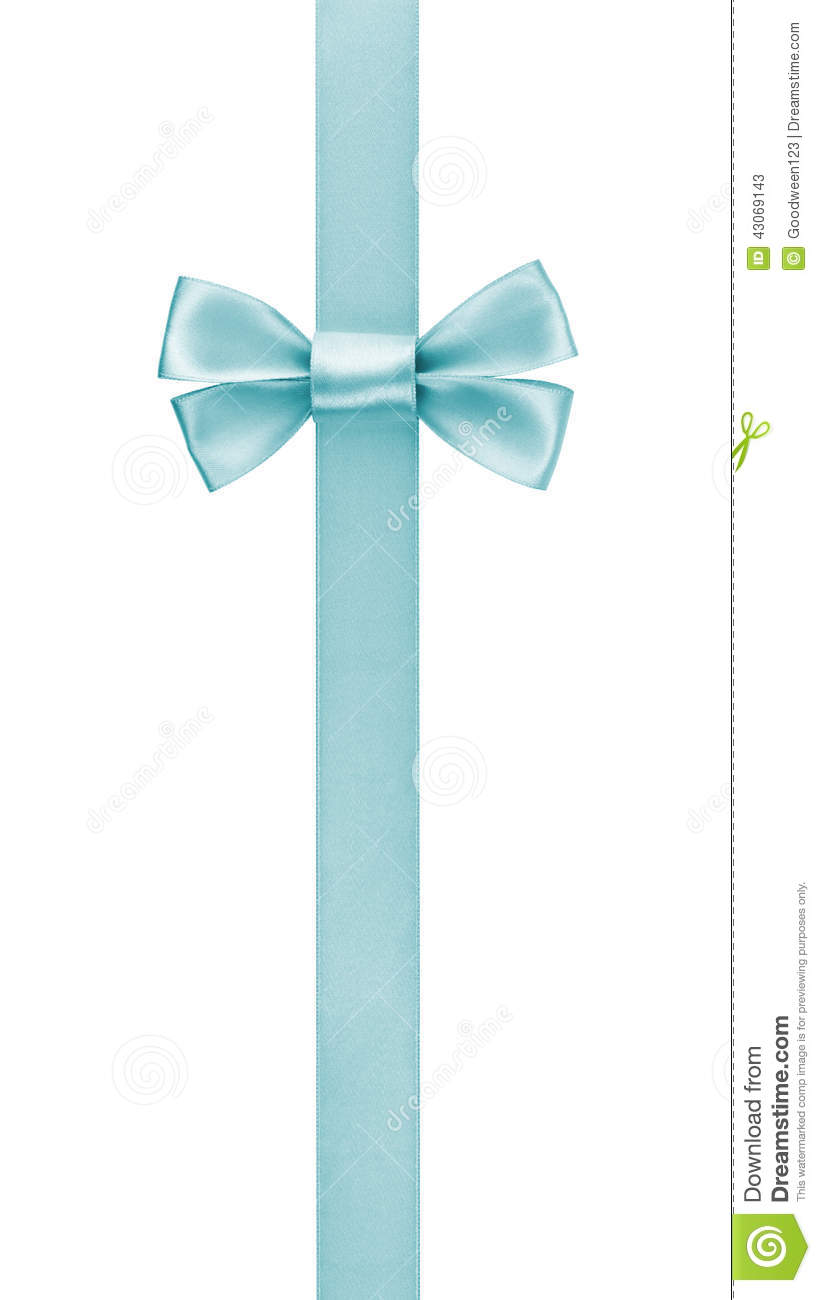 Vertical Border With Light Blue Color Ribbon Bow Stock