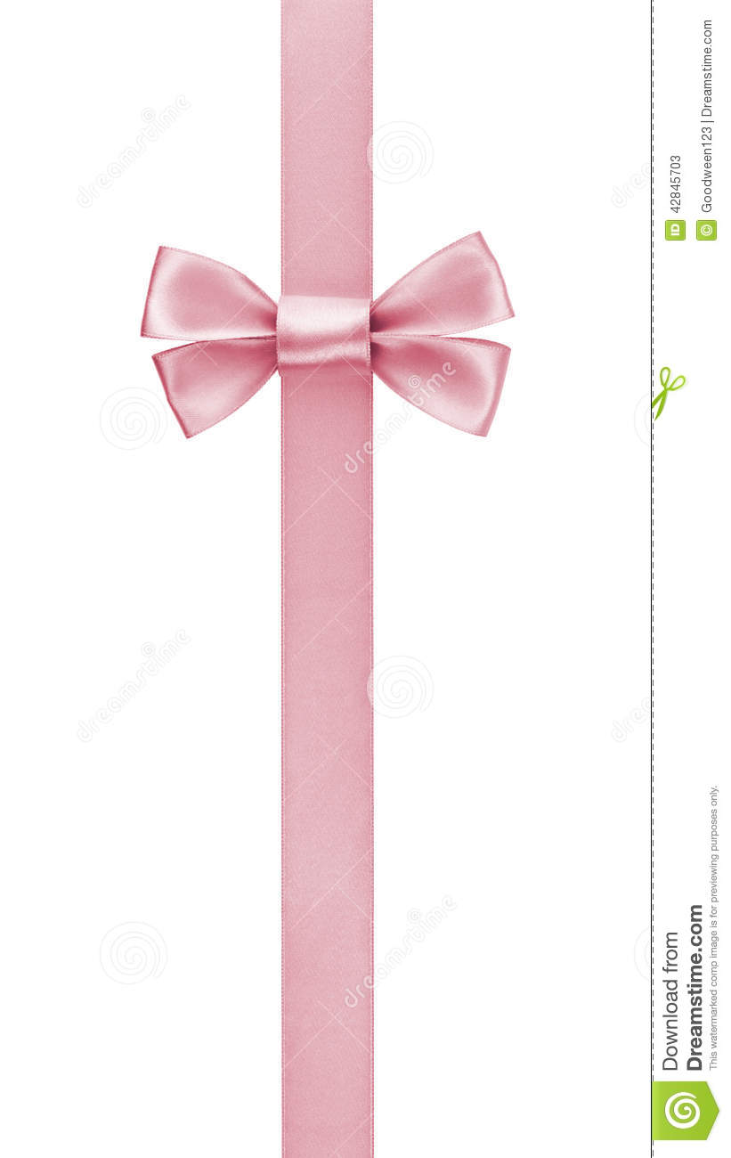 Vertical Border With Rose Pink Color Ribbon Bow Stock Photo - Image ...
