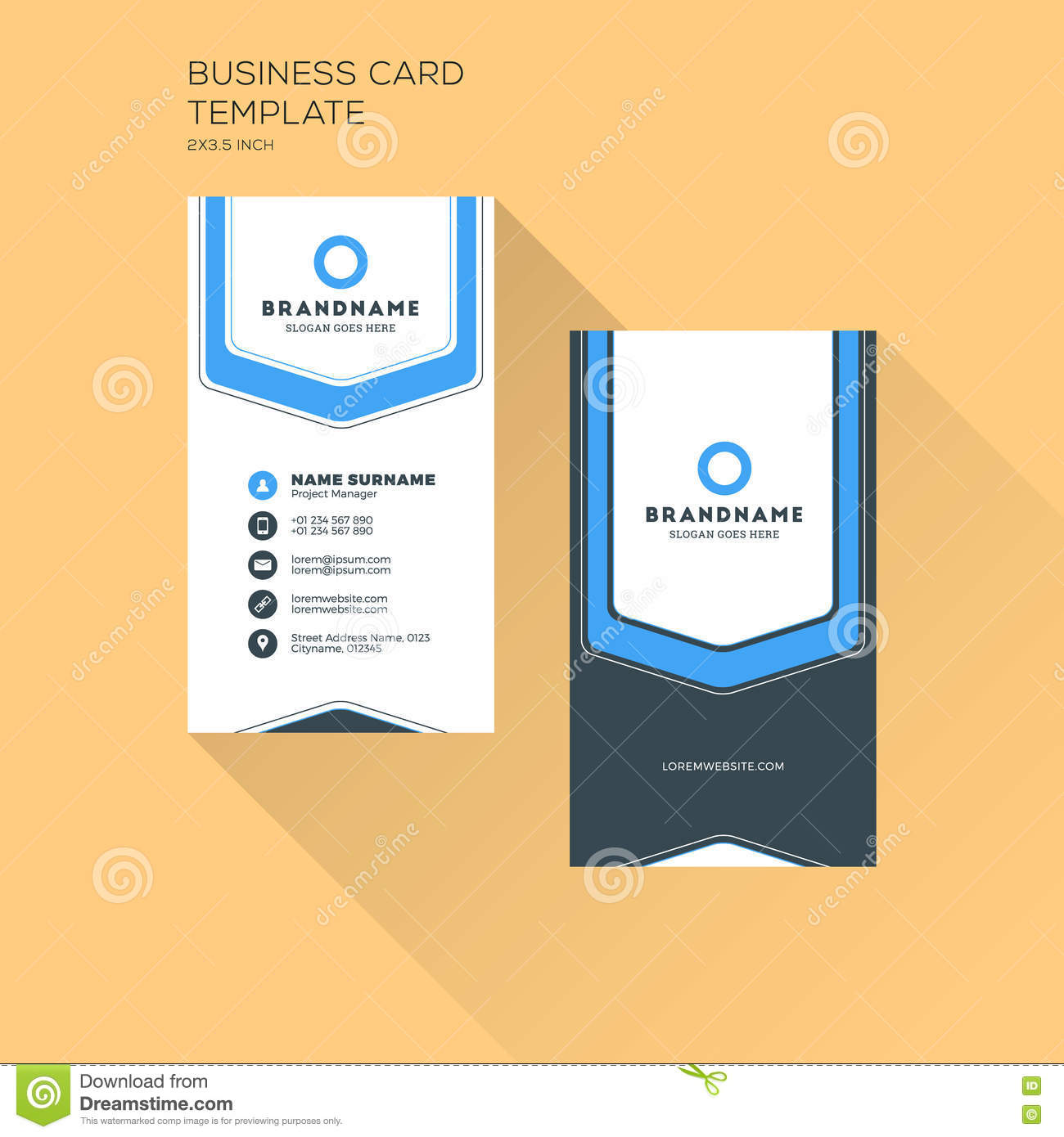 Vertical Business Card Print Template Personal Business Card - Business card vertical template