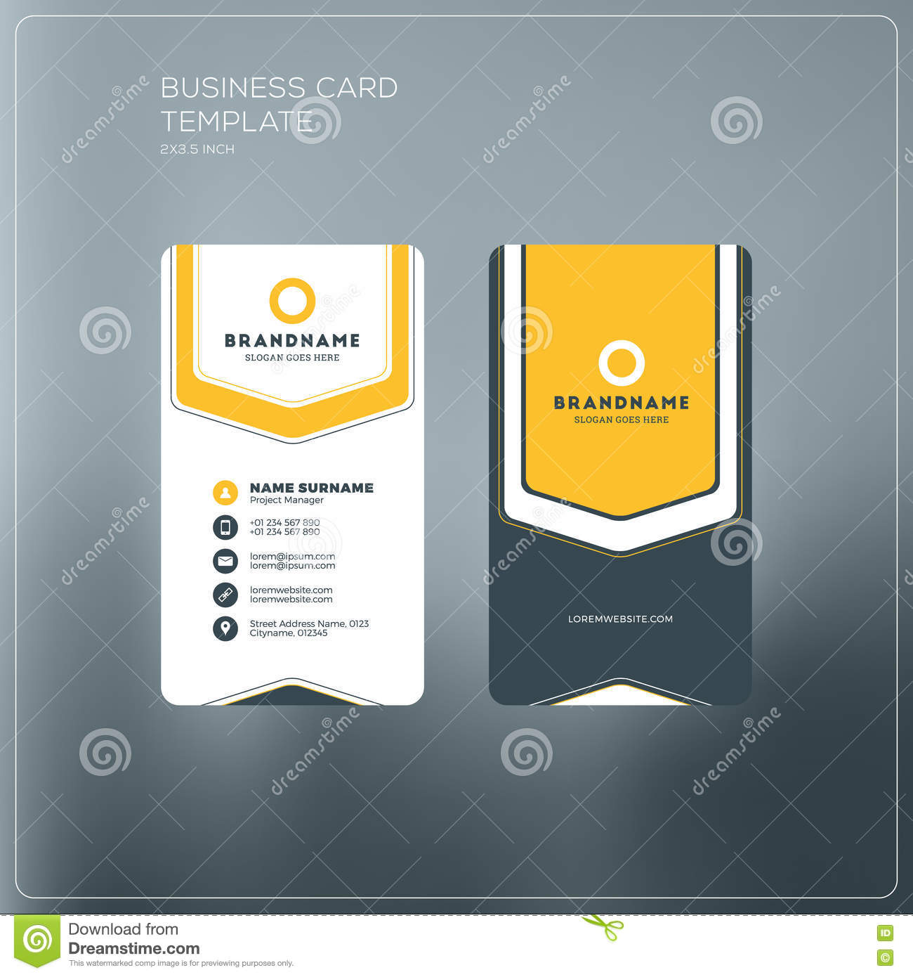 Vertical Business Card Print Template Personal Stock