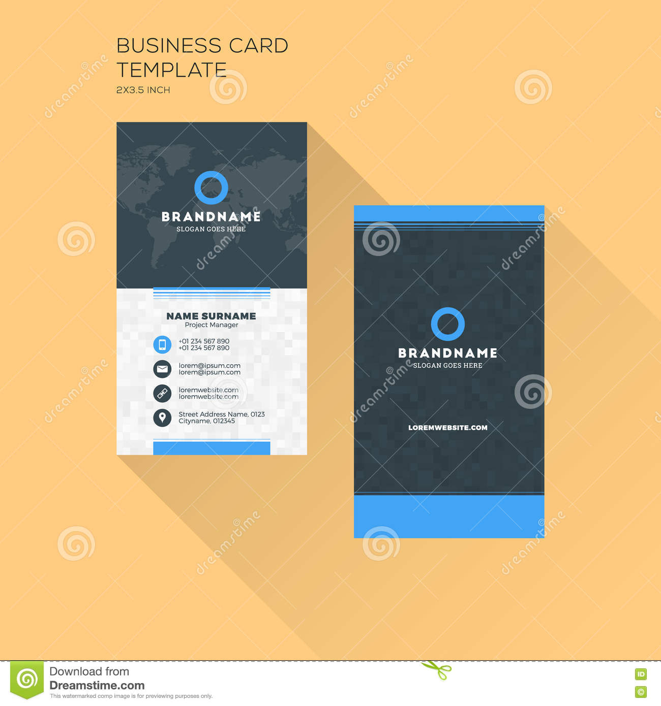 Vertical business card print template personal business card wi download comp cheaphphosting Gallery