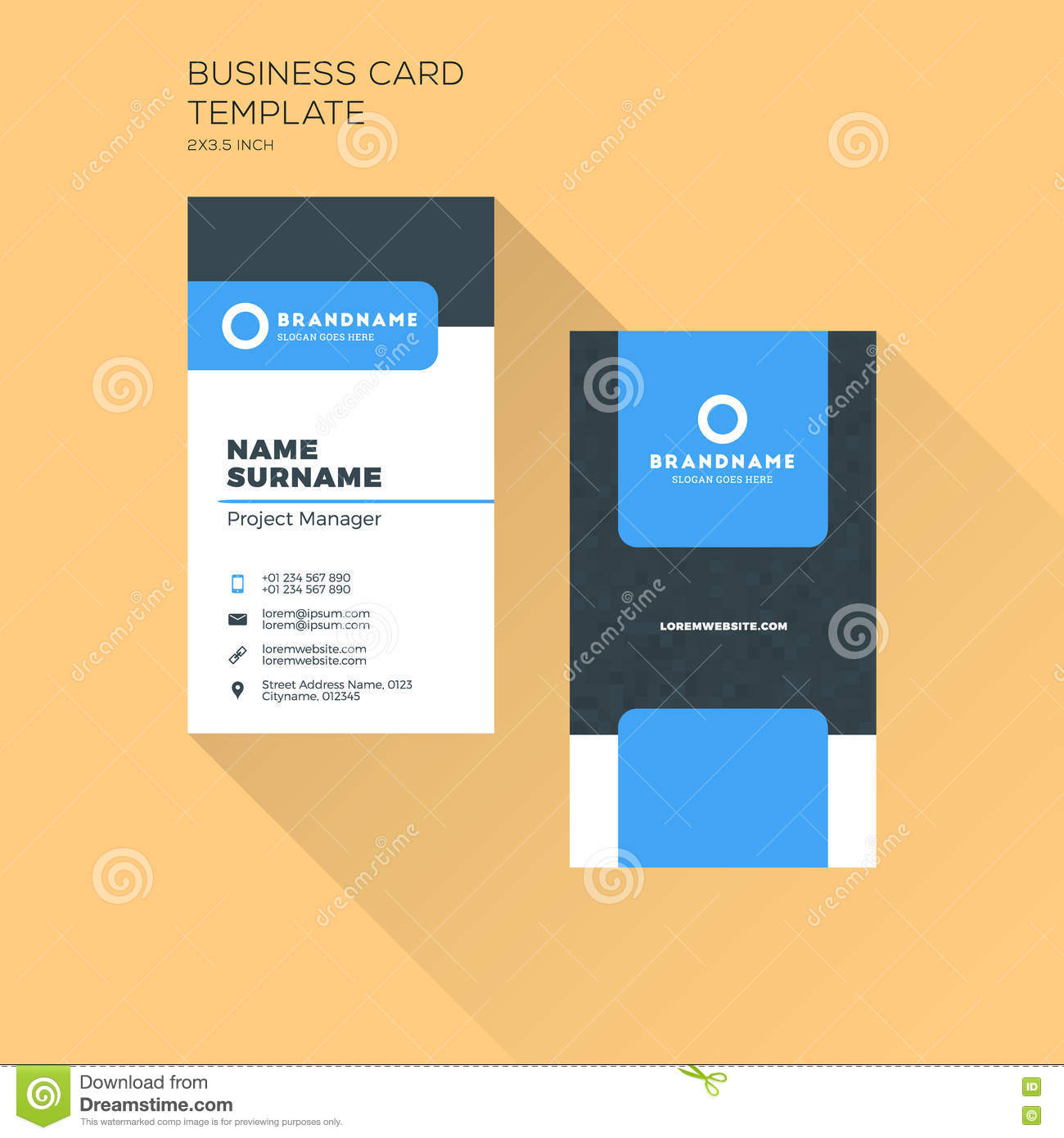 Vertical business card print template personal business card wi download vertical business card print template personal business card wi stock vector illustration of wajeb Gallery
