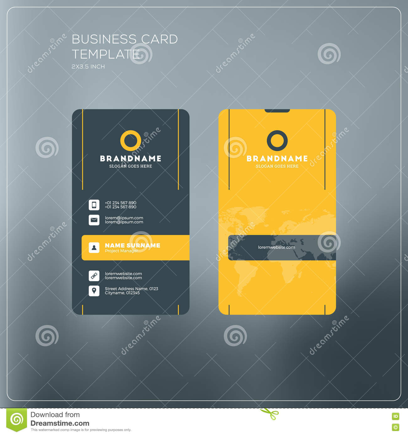 Vertical Business Card Print Template. Personal Business Card Wi ...