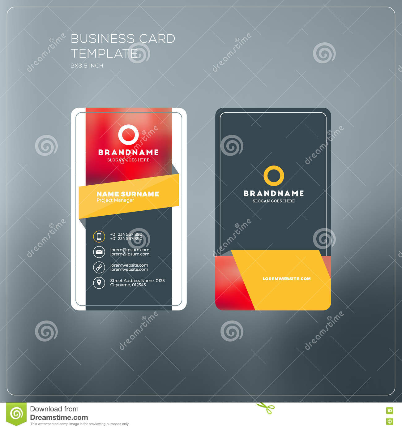 Vertical business card print template personal business card wi download vertical business card print template personal business card wi stock vector illustration of fbccfo Choice Image