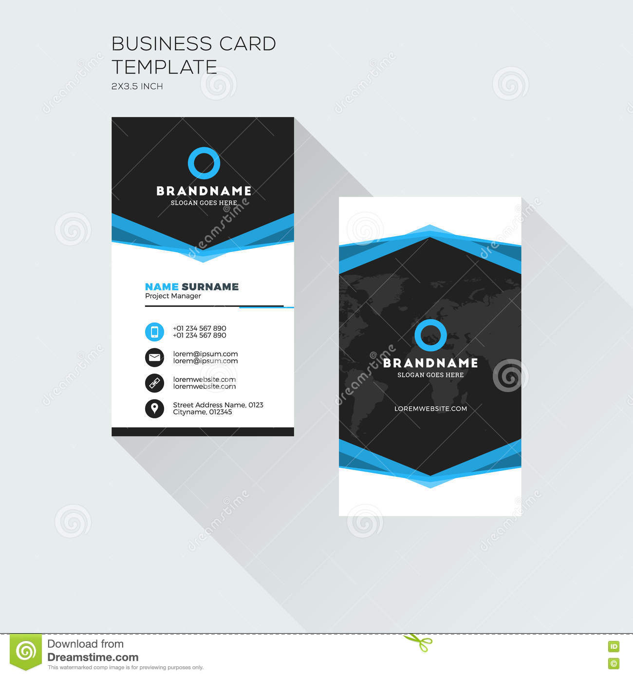 vertical business card print template personal visiting card stock