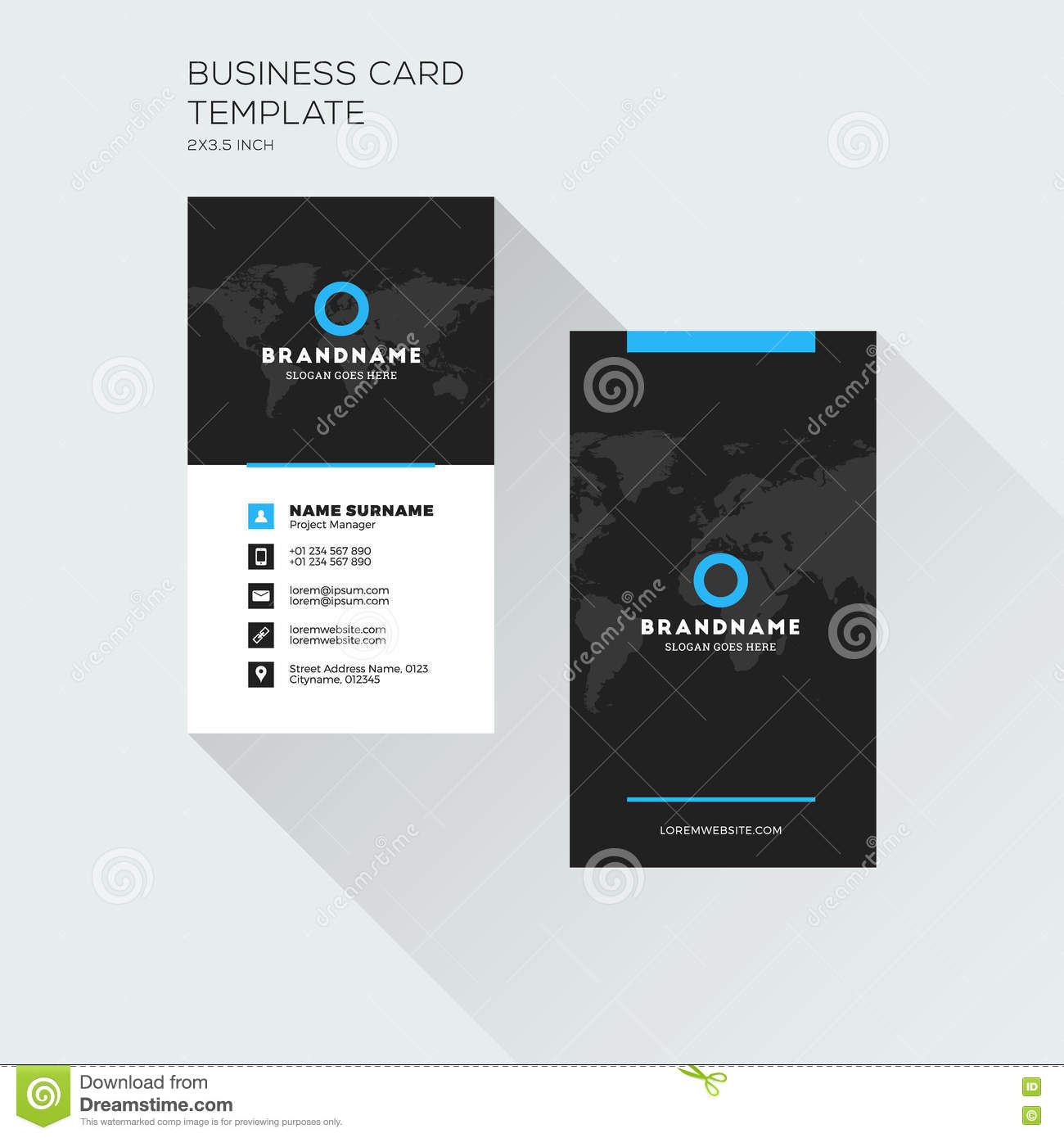 vertical business card print template personal visiting card wi - Business Card Printing Company