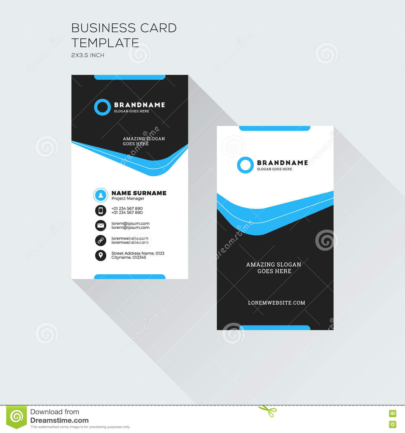 Vertical business card print template personal visiting card wi download vertical business card print template personal visiting card wi stock vector illustration of accmission Images