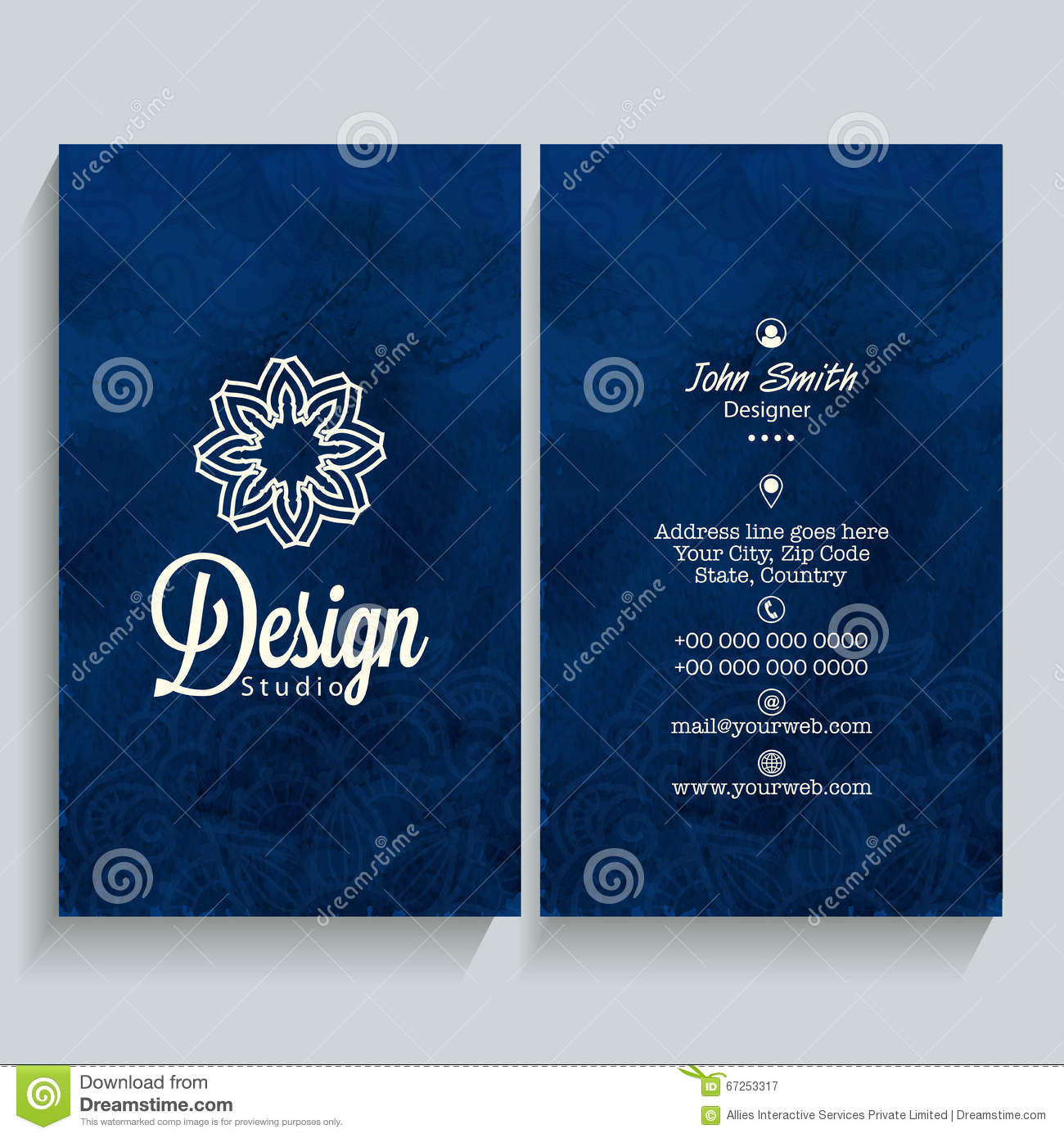 Vertical business card or visiting card stock illustration professional vertical blue business card name card or visiting card set with front and back presentation reheart Gallery