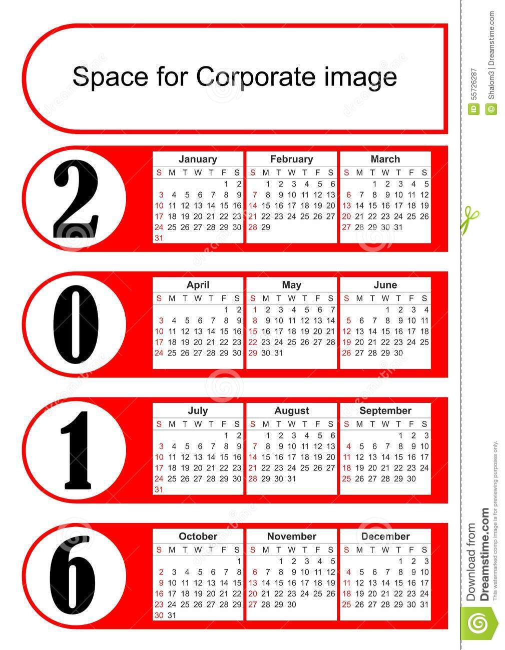 Corporate Calendar Design 2016 : Vertical calendar with simply red graphic design eps