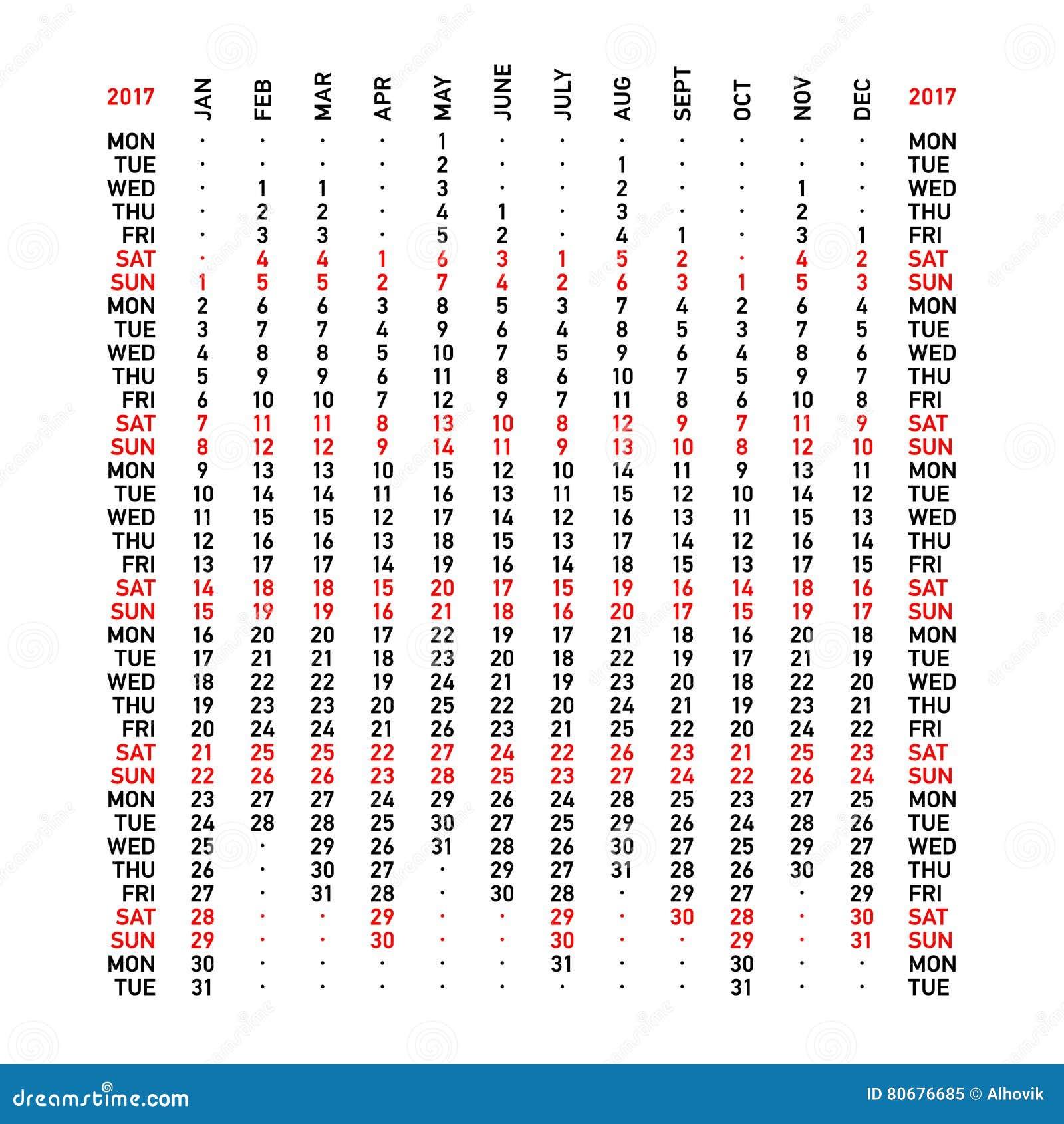 Vertical Calendar 2017 Stock Vector - Image: 80676685