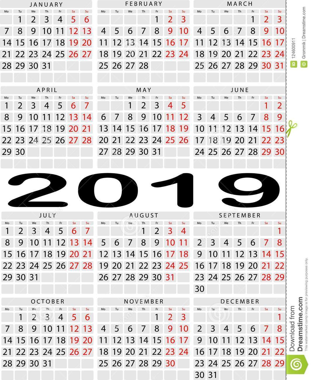 Vertical Calendar For 2019 Year. Week With Two Days Off