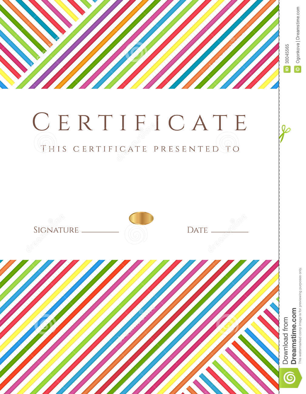 Colorful Stripy Certificate /diploma Template Stock Vector ...